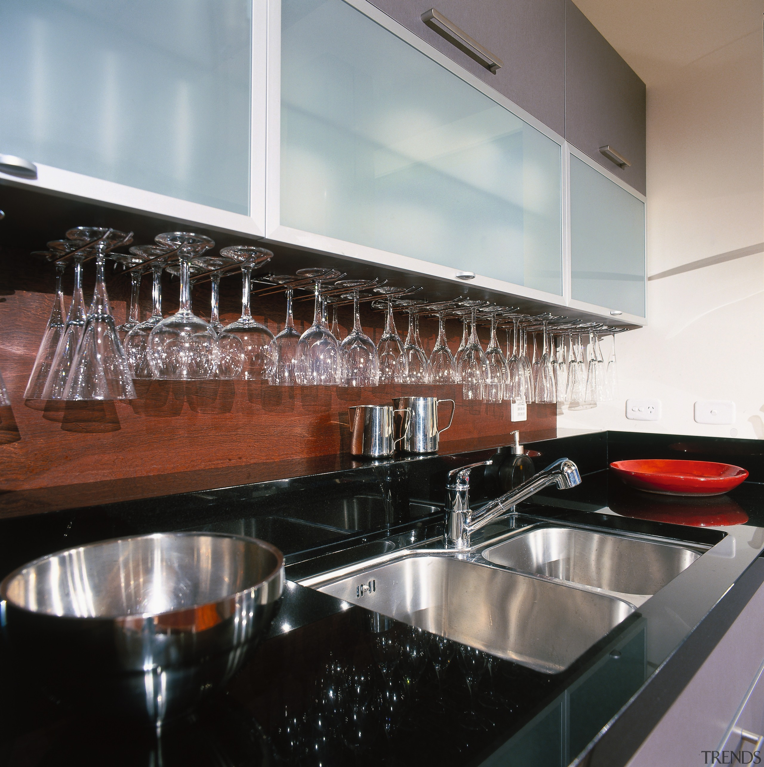 view of granite benchtop and stainless steel sink countertop, glass, interior design, kitchen, gray, black