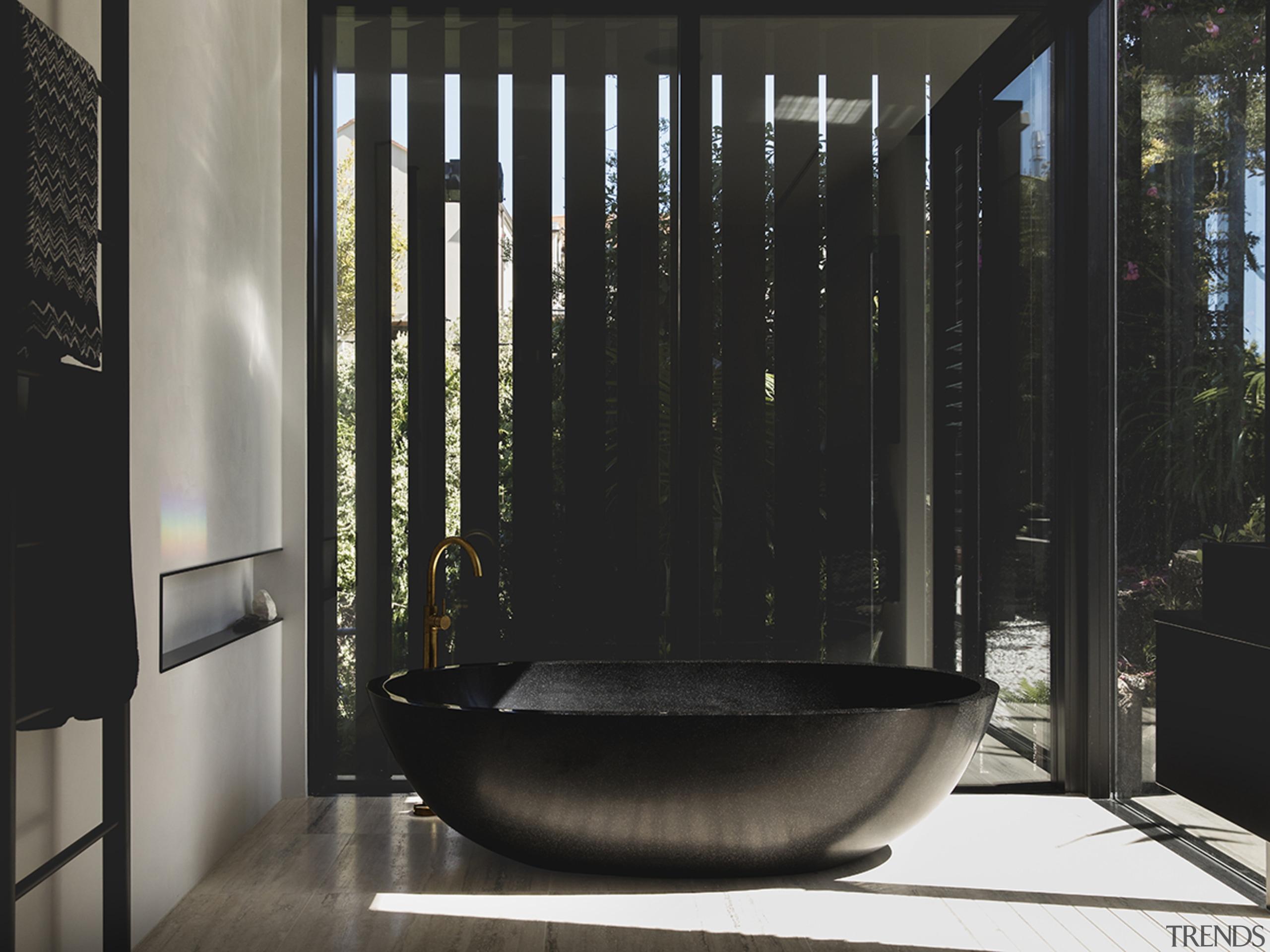Read the full story. architecture, bathroom, floor, glass, house, interior design, plumbing fixture, room, black