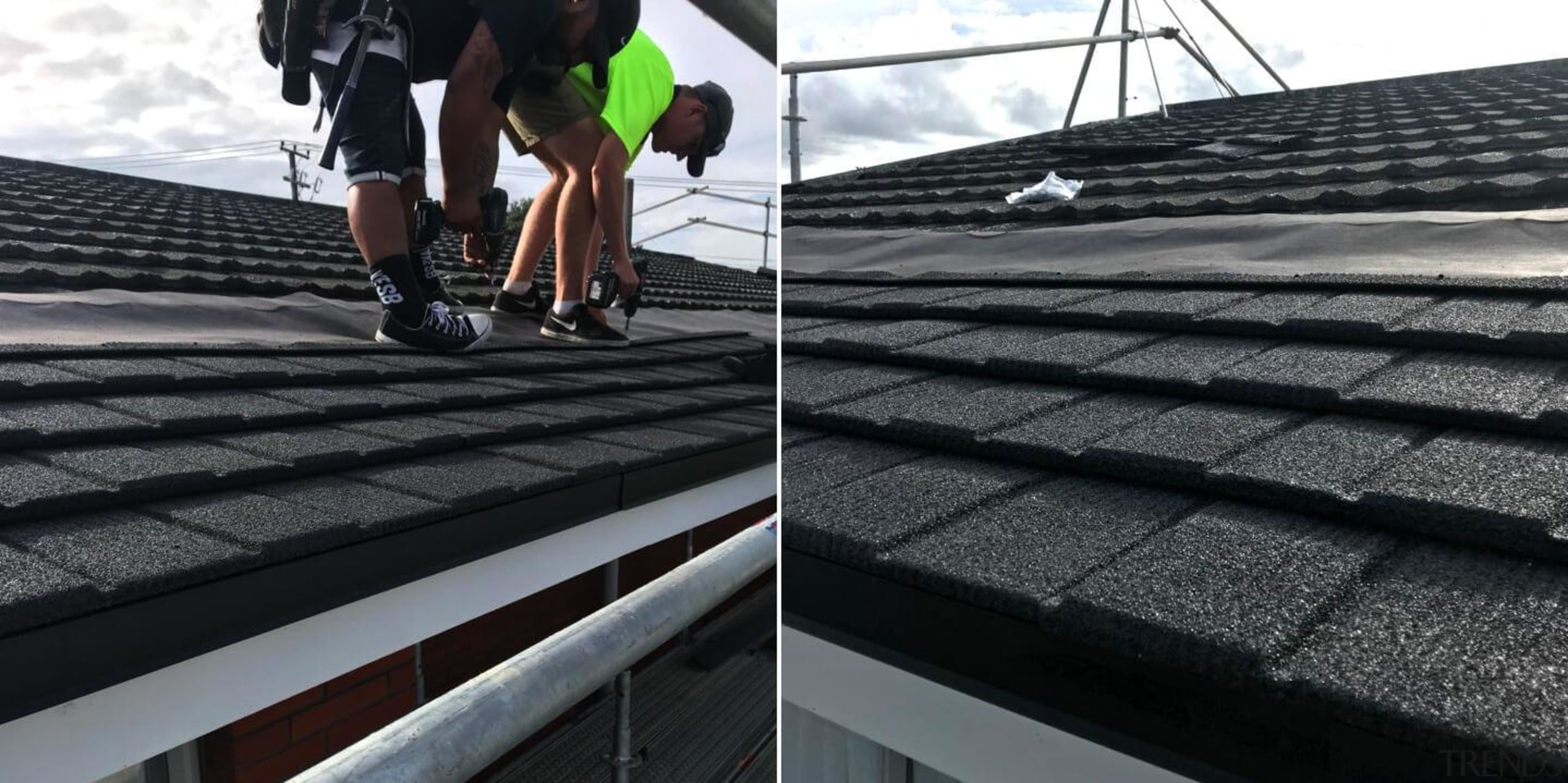 Installing a new roof - automotive tire   automotive tire, daylighting, outdoor structure, roof, tire, black