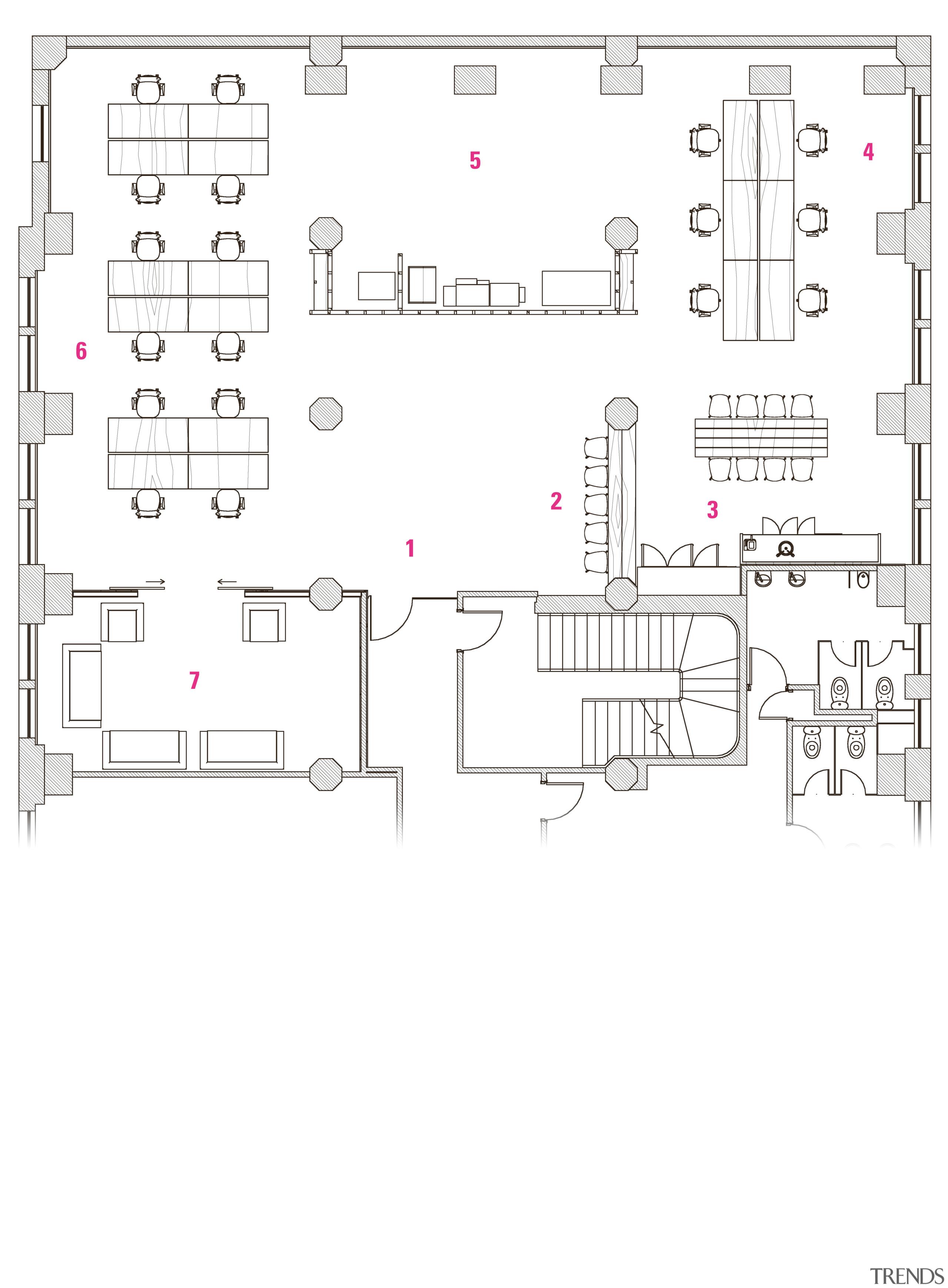 Legend 1 entry, 2 informal reception, 3 kitchen area, design, diagram, drawing, floor plan, font, line, plan, product, product design, text, white