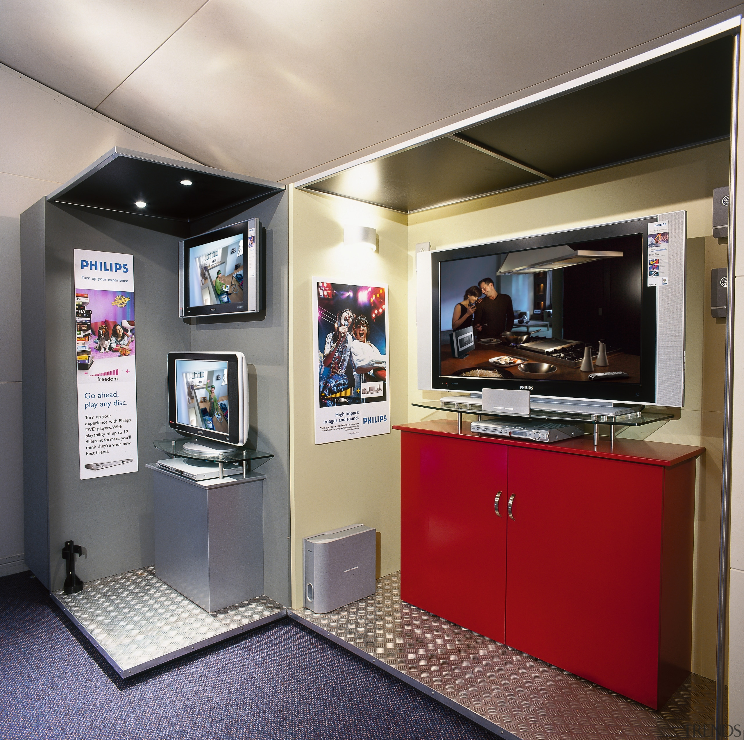 this booth showcases the phillips home theatre in display device, interior design, multimedia, gray