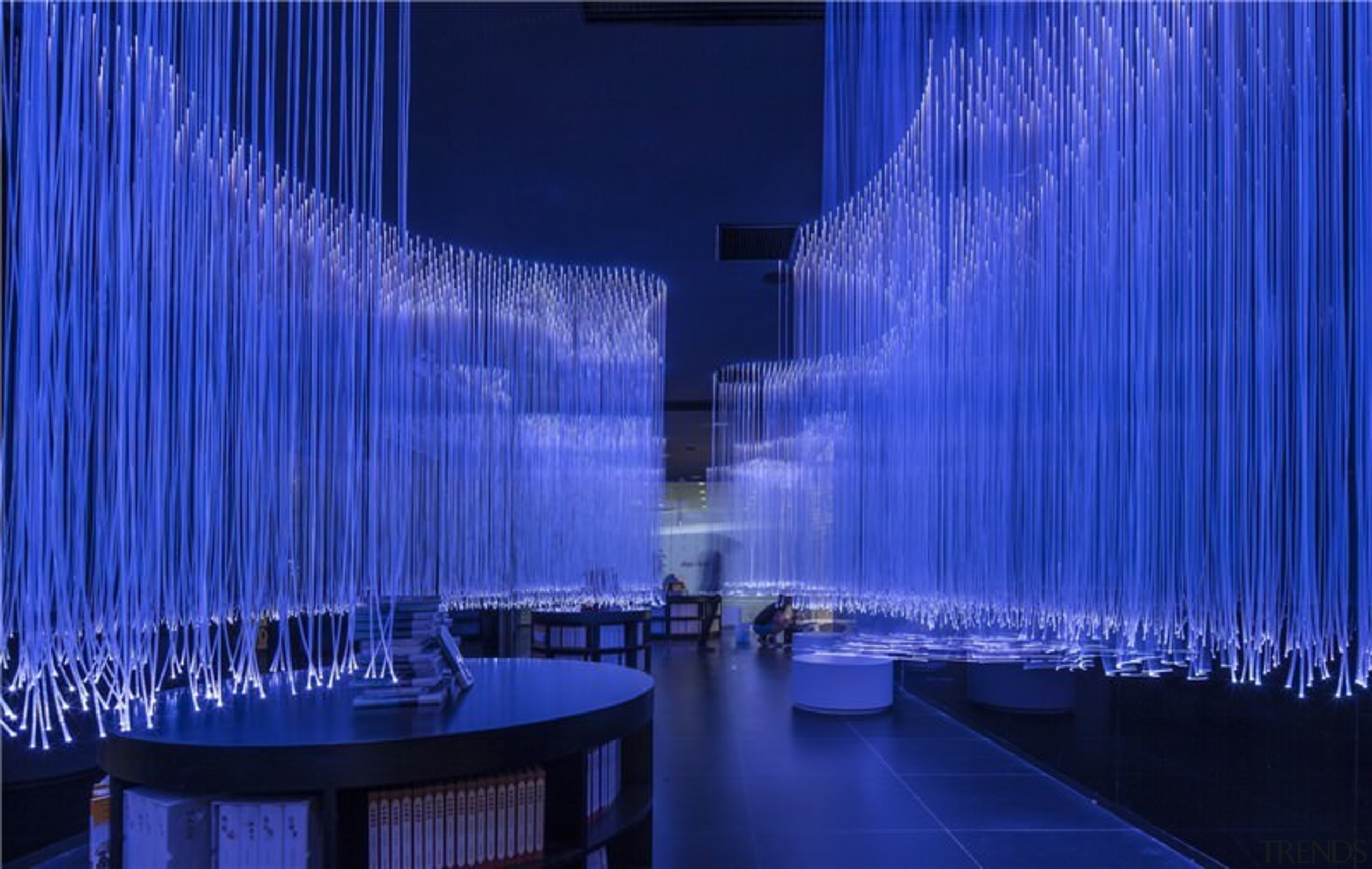 A new take on the bookstore - A architecture, blue, fountain, interior design, light, lighting, purple, structure, tourist attraction, water feature, blue