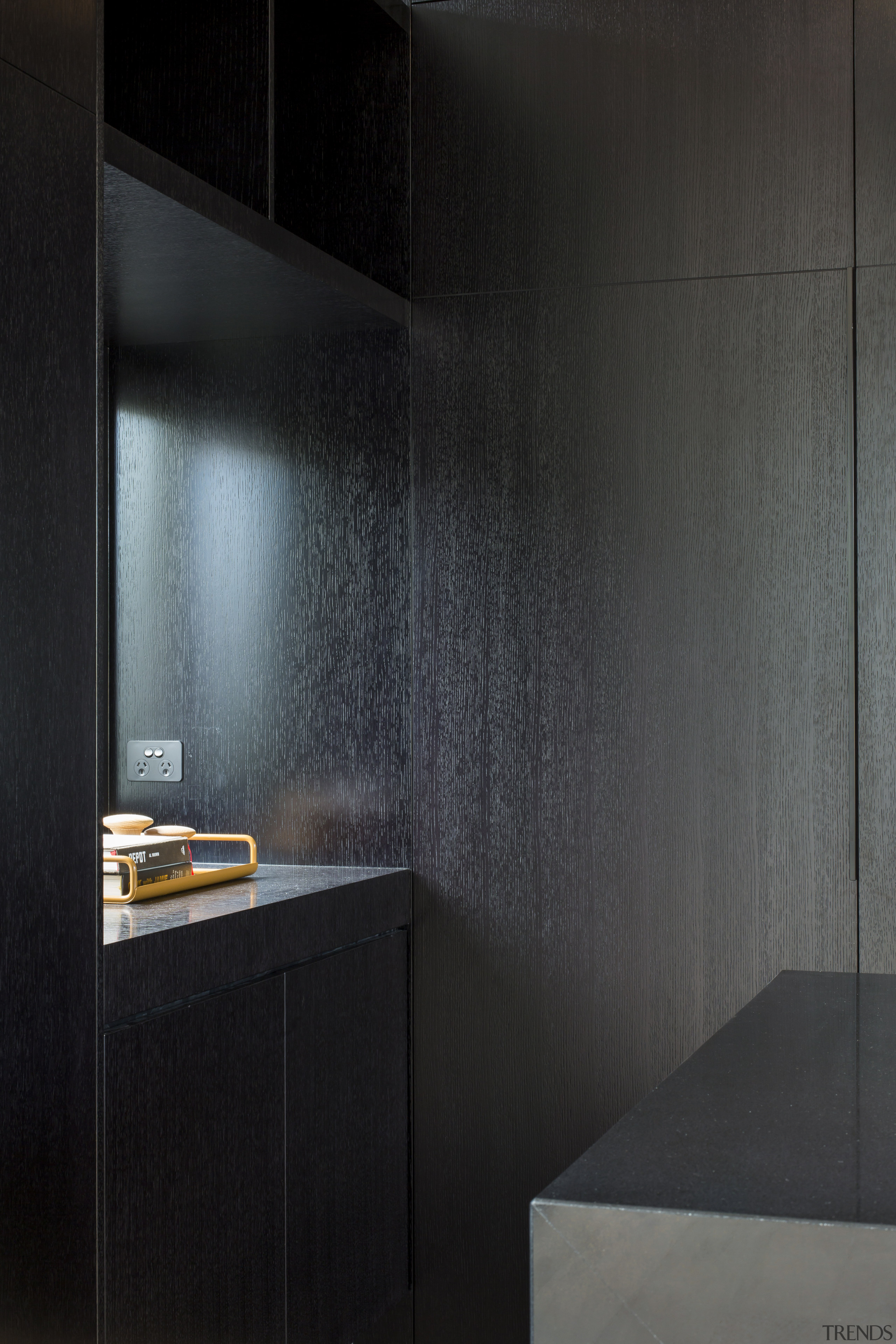 For this kitchen by Borrmeister Architects, a small architecture, floor, flooring, furniture, glass, interior design, material property, room, space, tile, wall, black