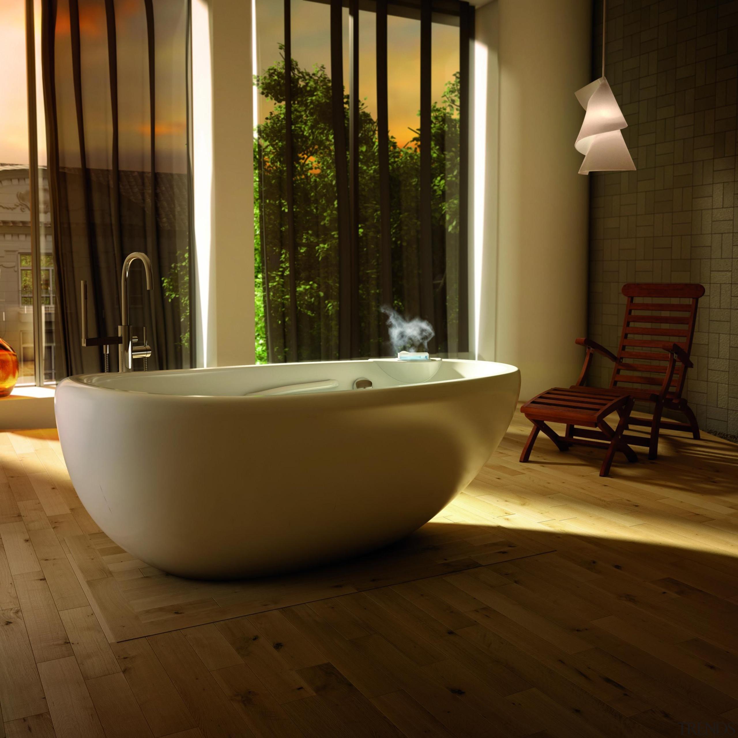 essencial oval thermasens.jpg - essencial_oval_thermasens.jpg - bathroom | bathroom, bathtub, floor, flooring, hardwood, interior design, plumbing fixture, room, tile, wood flooring, brown