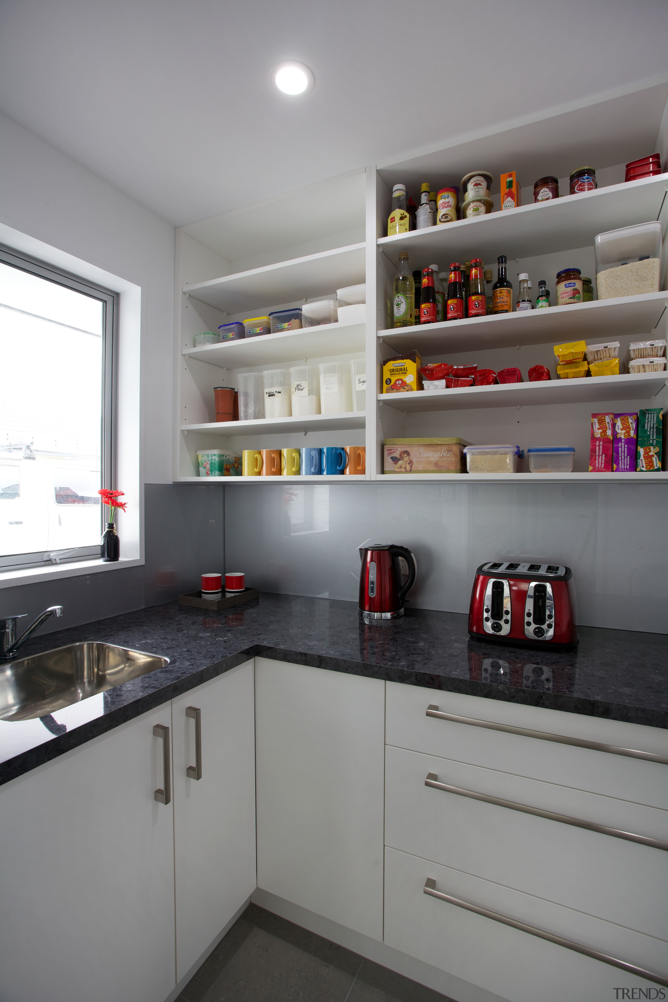 This scullery is part of a large kitchen cabinetry, countertop, interior design, kitchen, gray