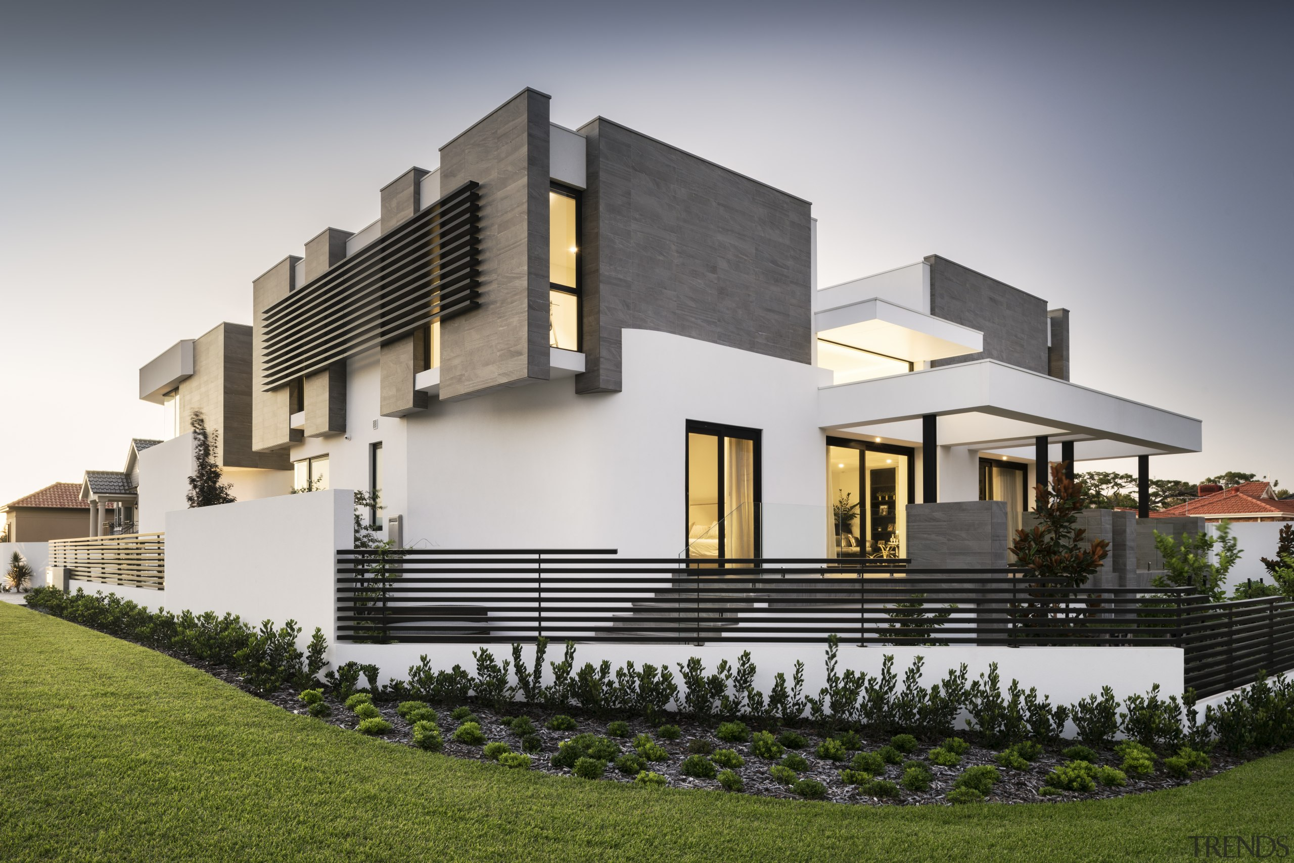 Front corner of contemporary new home by Urbane architecture, building, elevation, estate, facade, home, house, official residence, property, real estate, residential area, villa, gray