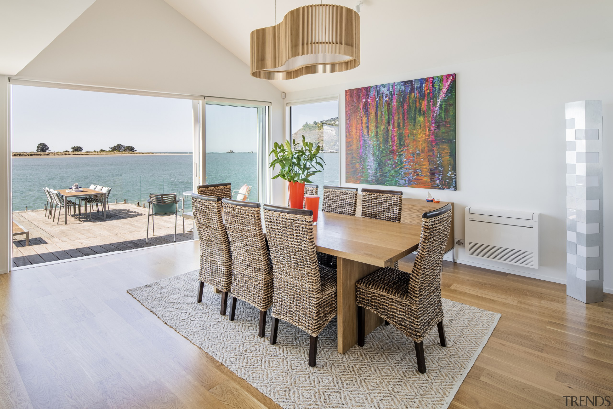 Set alongside the living space, the dining area