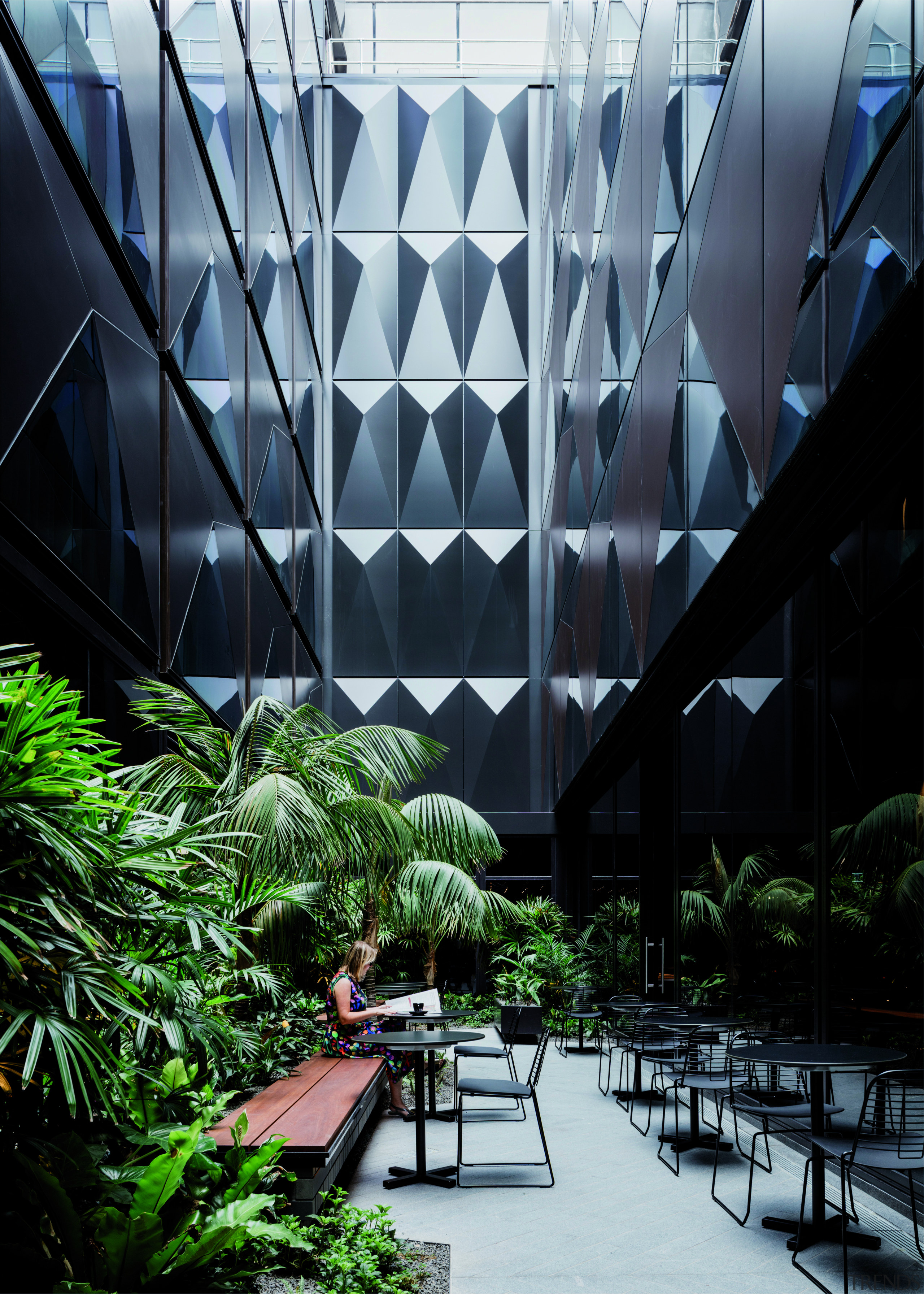 The West Hotel's faceted facade appears on all architecture, building, daylighting, headquarters, metropolitan area, mixed use, plant, tree, black