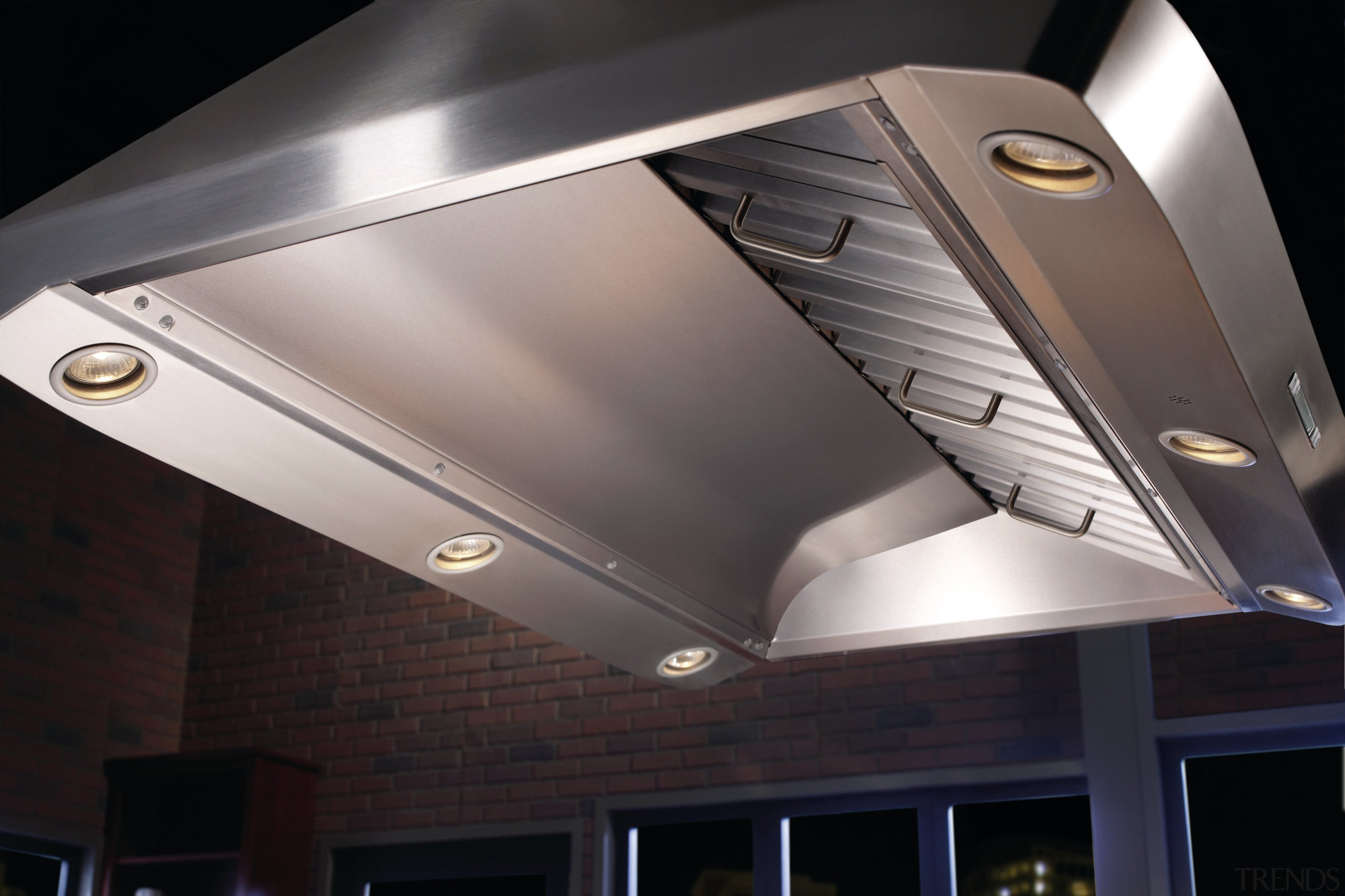 Best range hoods, including Model IP29 shown, are ceiling, daylighting, light, light fixture, lighting, product design, black, gray