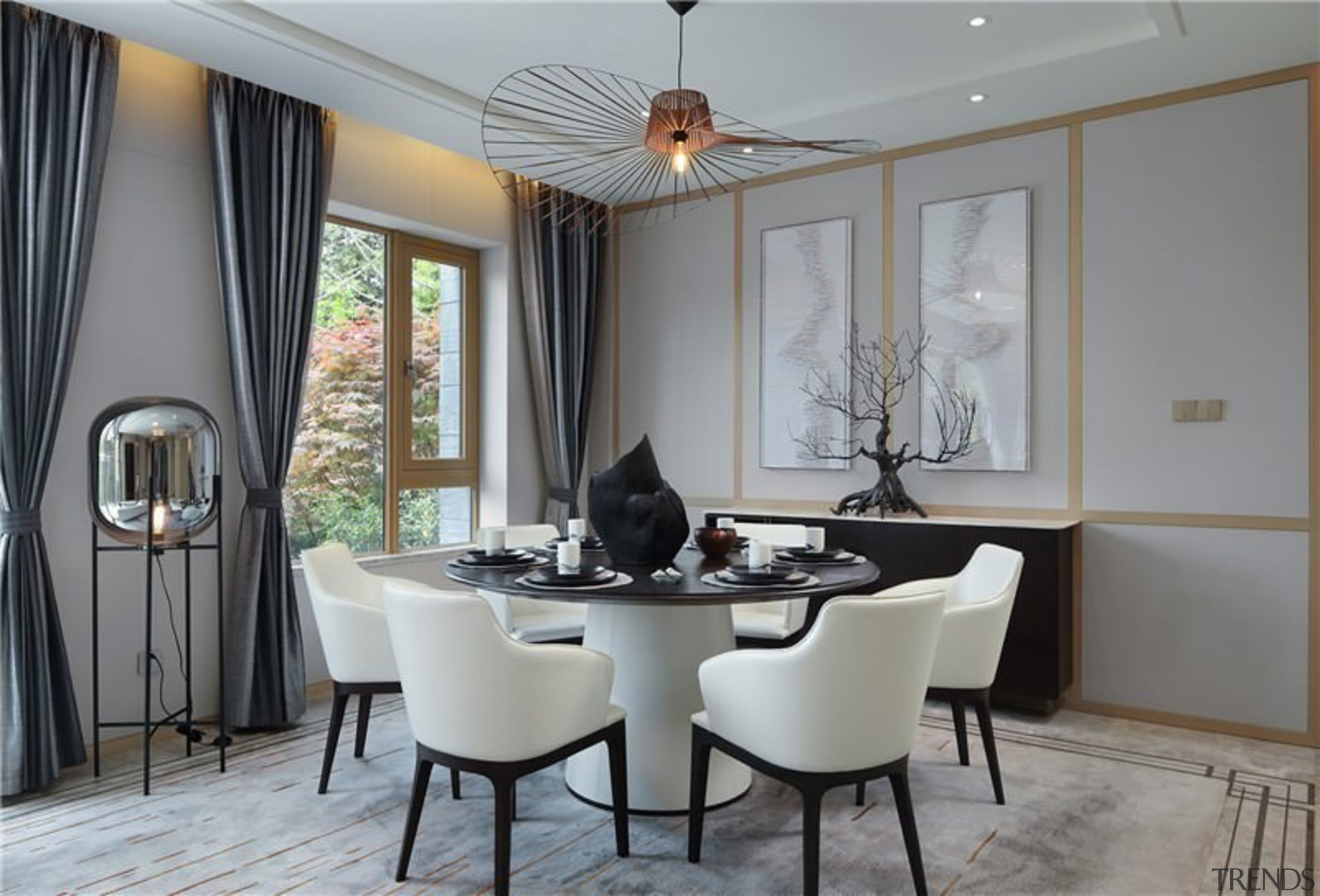 This dining area sits off from the lounge ceiling, dining room, furniture, home, interior design, living room, real estate, room, table, window, gray