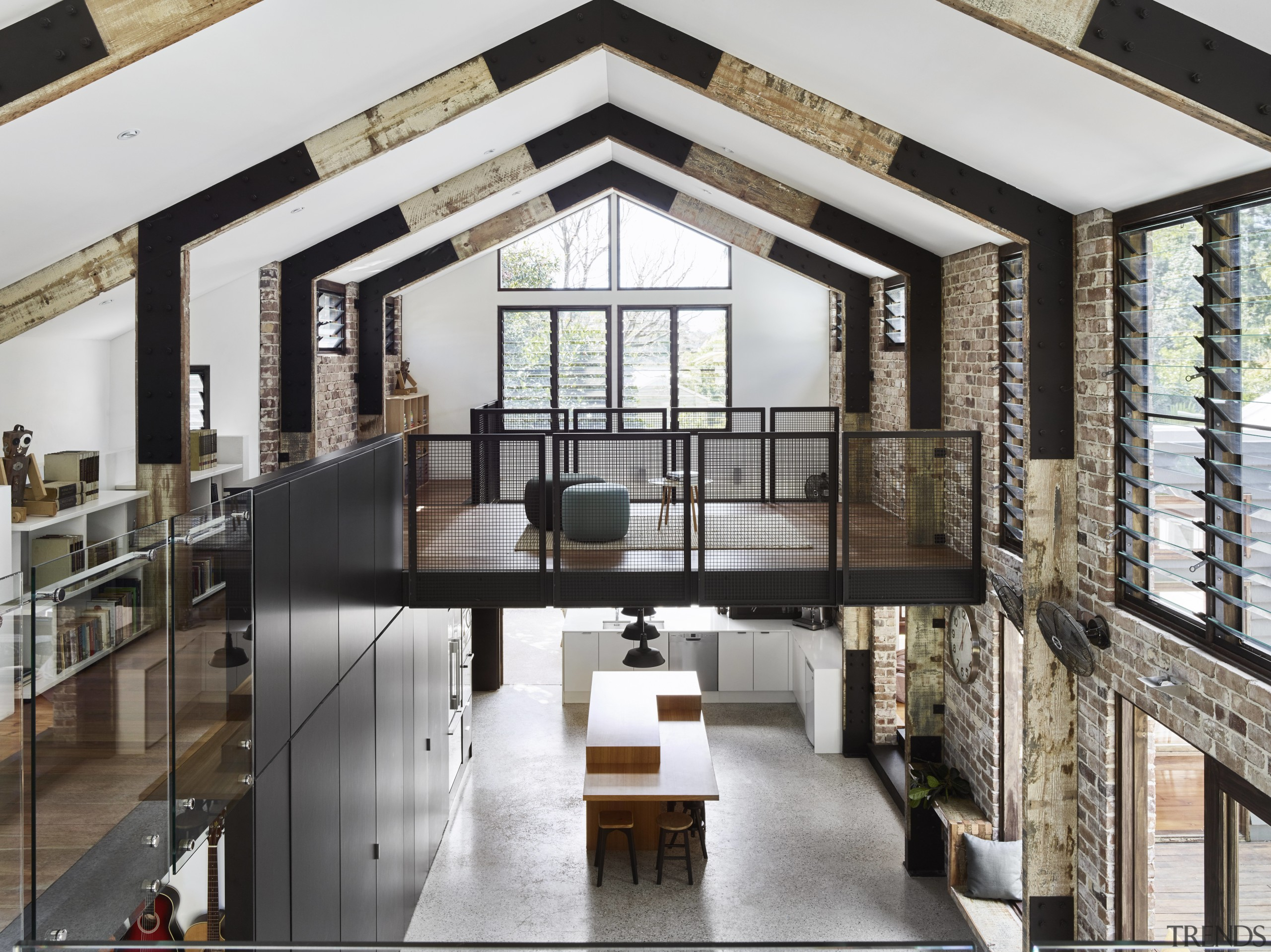 High and mighty  this large two-level extension interior design, gray, black