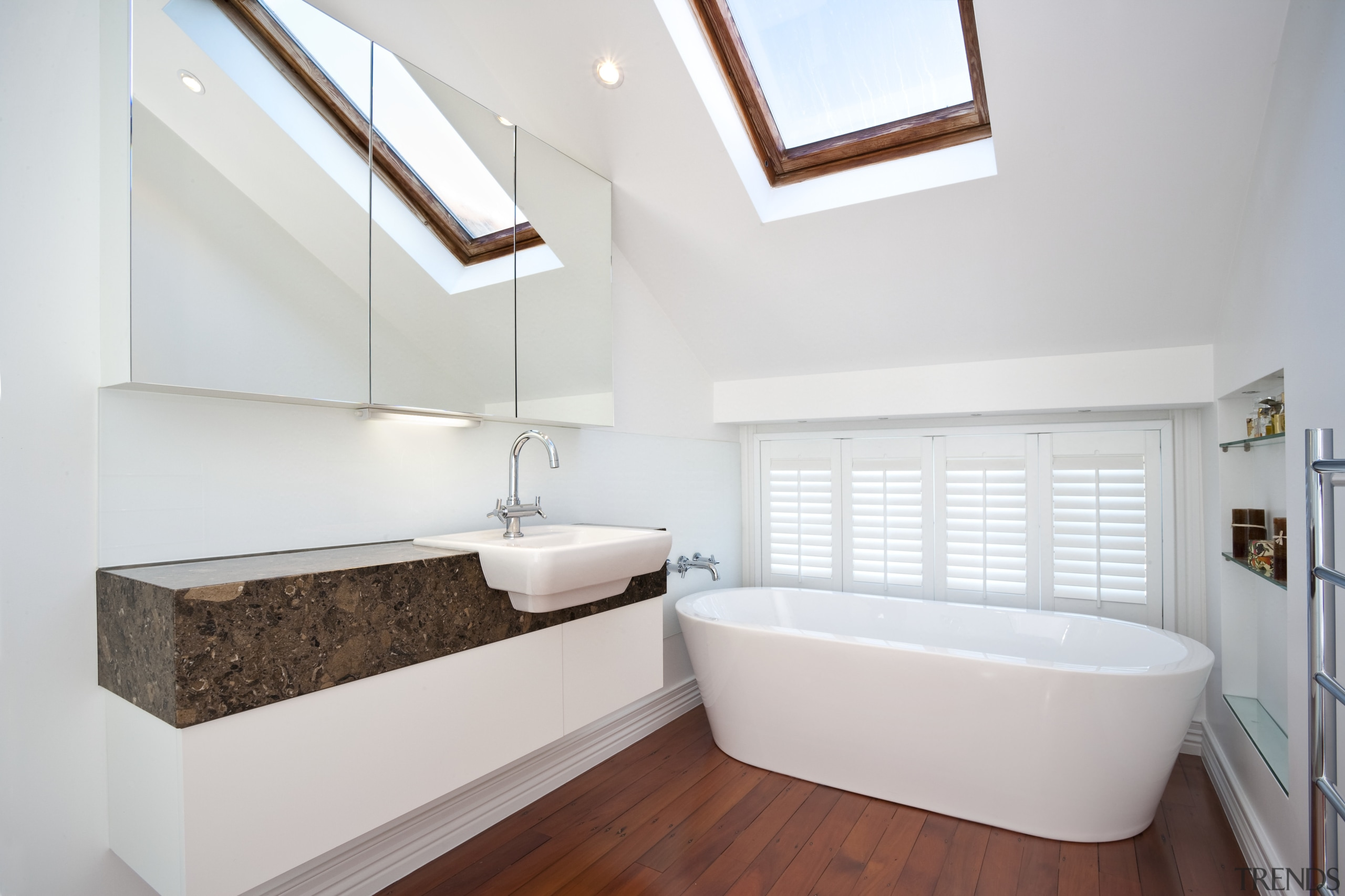 View of this remodeled contemporary bathroom - View architecture, bathroom, daylighting, floor, home, house, interior design, real estate, room, sink, white
