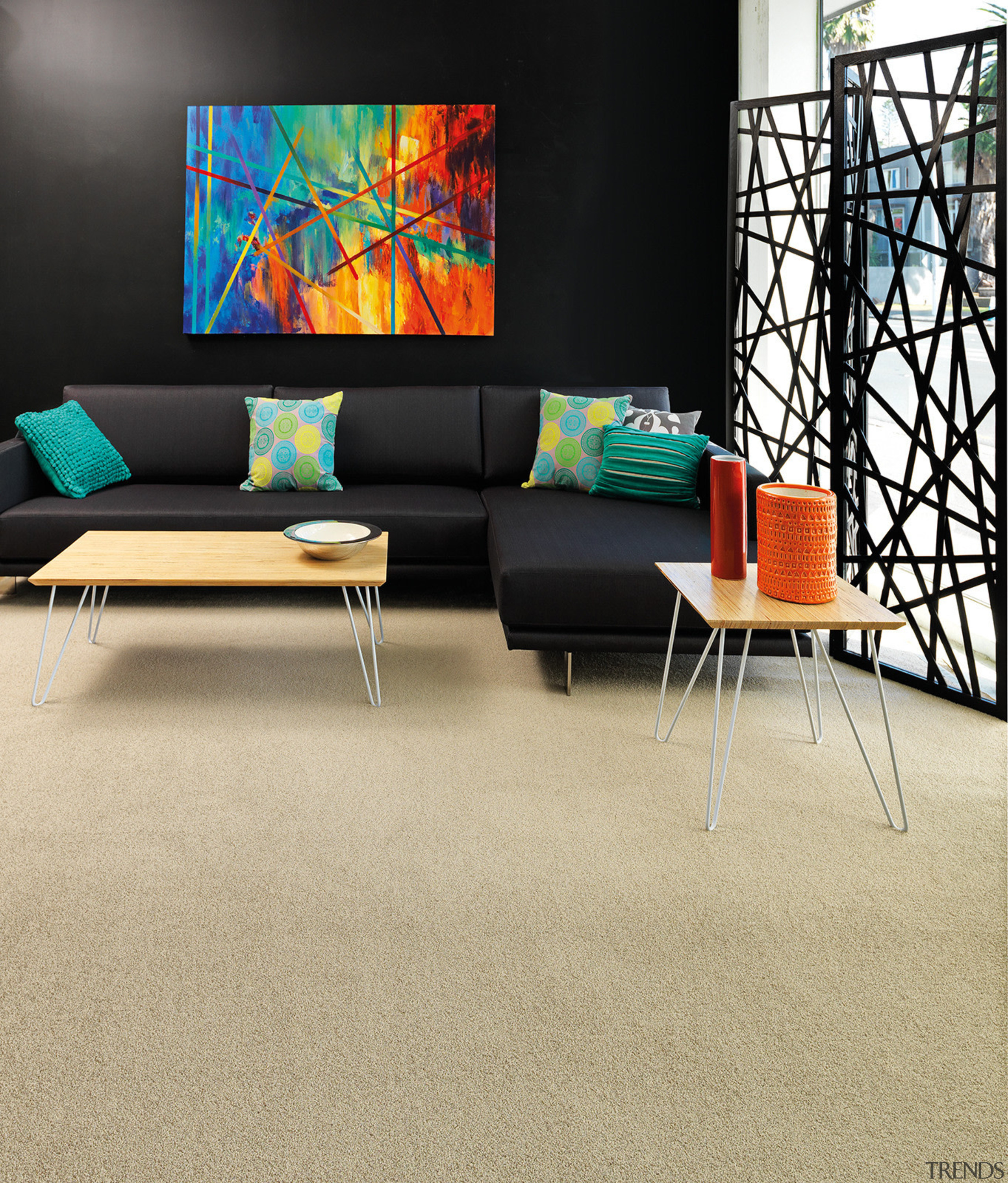Your new carpet will generally appear about 20% carpet, chair, coffee table, couch, floor, flooring, furniture, hardwood, interior design, laminate flooring, living room, table, wall, wood, wood flooring, orange, black