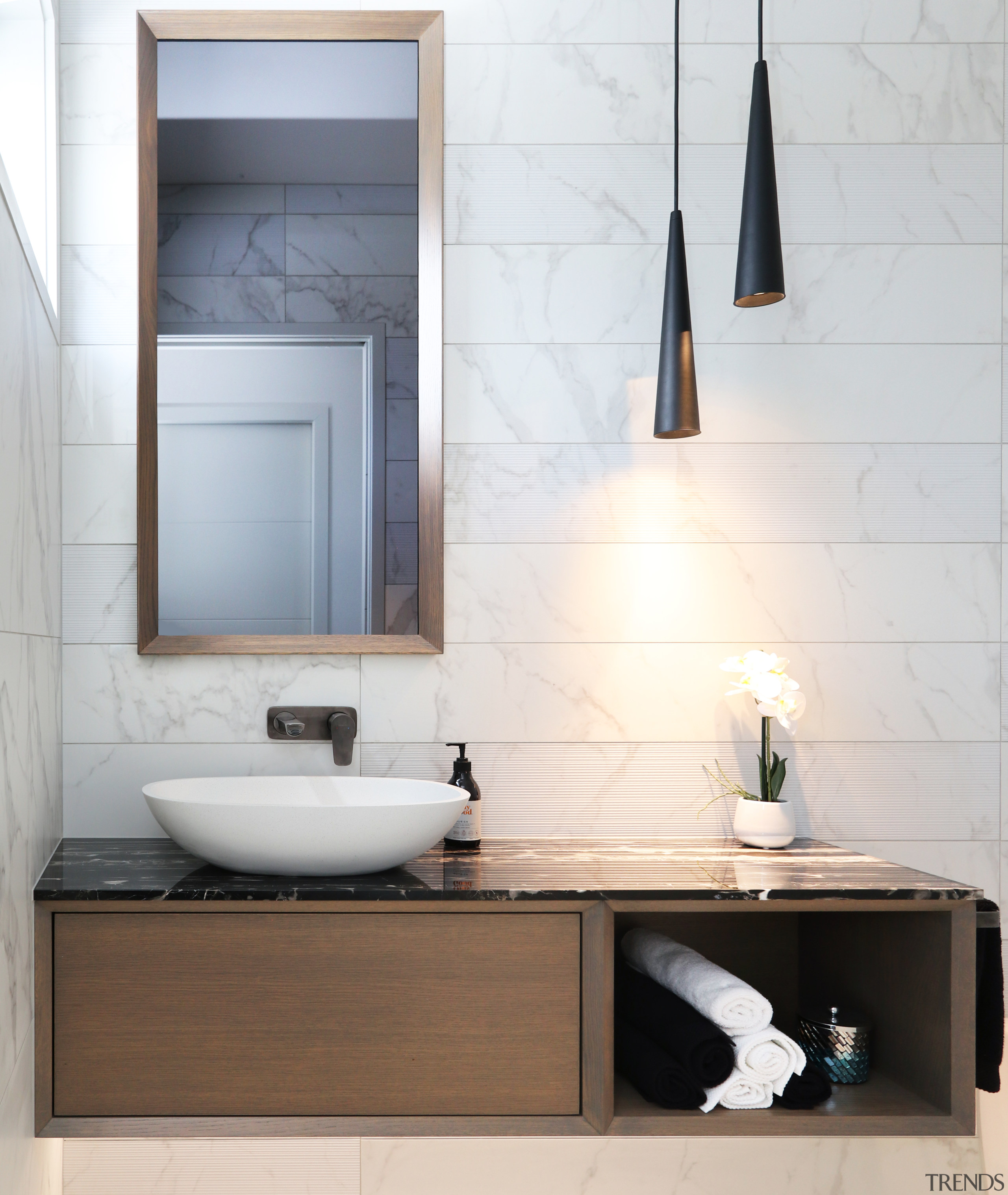 Elite supplied many stand-out products for this home bathroom, bathroom accessory, bathroom cabinet, ceramic, floor, flooring, furniture, interior design, marble, material property, plumbing fixture, property, room, sink, tap, tile, wall, white