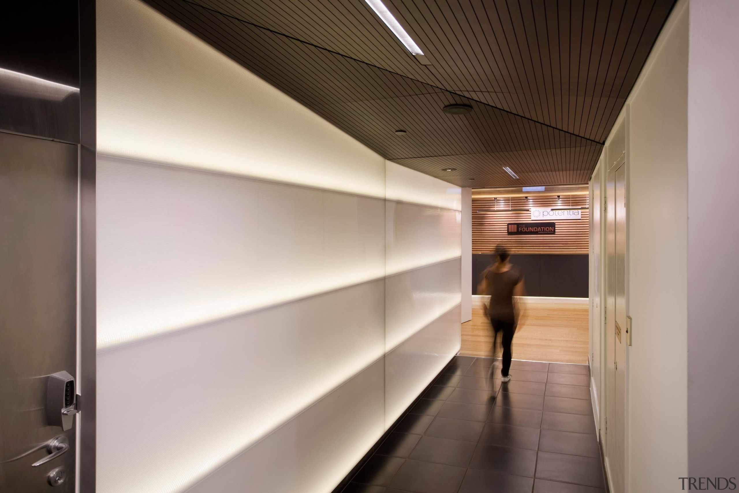 Horizontal lines of the back-lit polycarbonate wall panels architecture, ceiling, interior design, gray