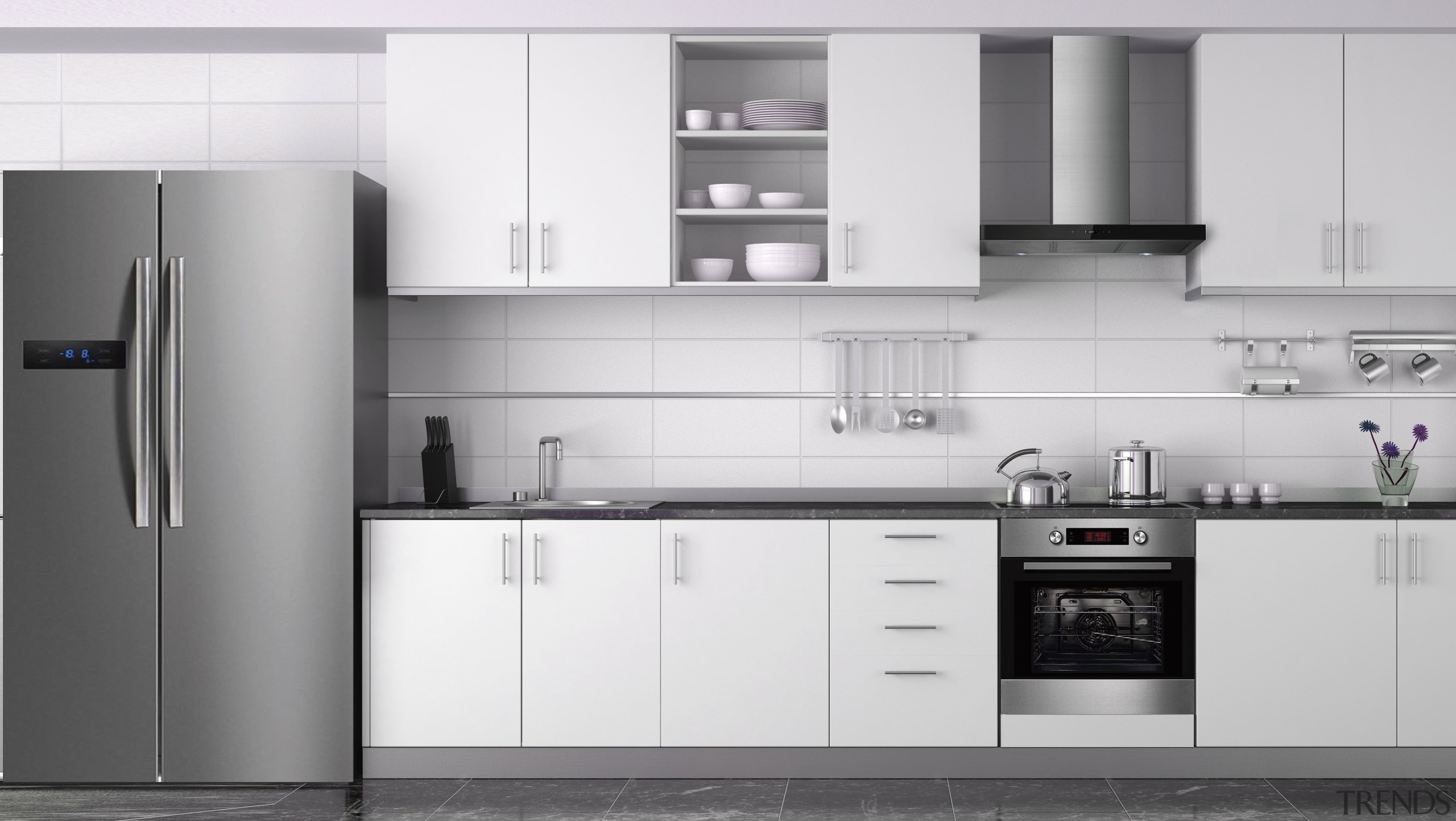 This kitchen features appliances by global appliance manufacturer cabinetry, countertop, cuisine classique, home appliance, interior design, kitchen, kitchen appliance, kitchen stove, major appliance, product, product design, refrigerator, small appliance, white, gray