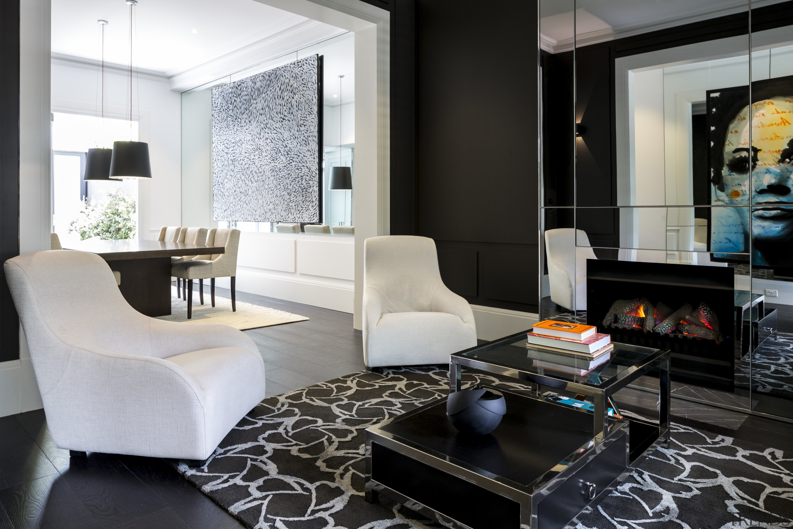 Black living room walls, stained oak floors and furniture, interior design, living room, room, table, black, white