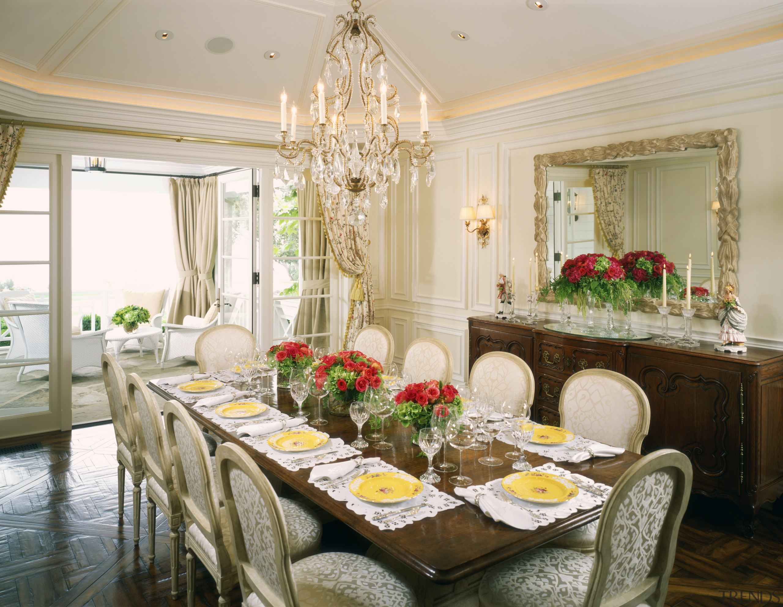 Dining room with chandelier & dining furniture overlooks dining room, function hall, home, interior design, room, table, gray