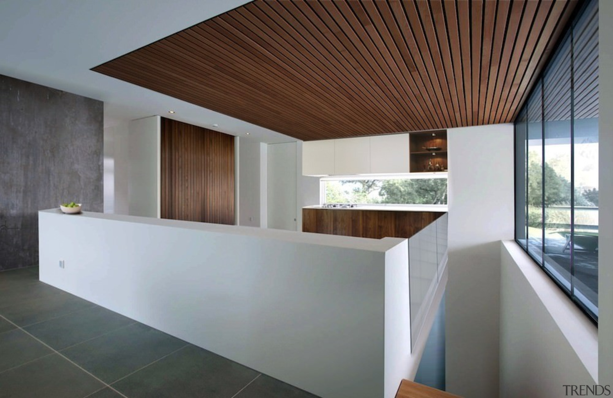 Wood runs along the ceiling - Wood runs architecture, ceiling, daylighting, estate, home, house, interior design, property, real estate, gray