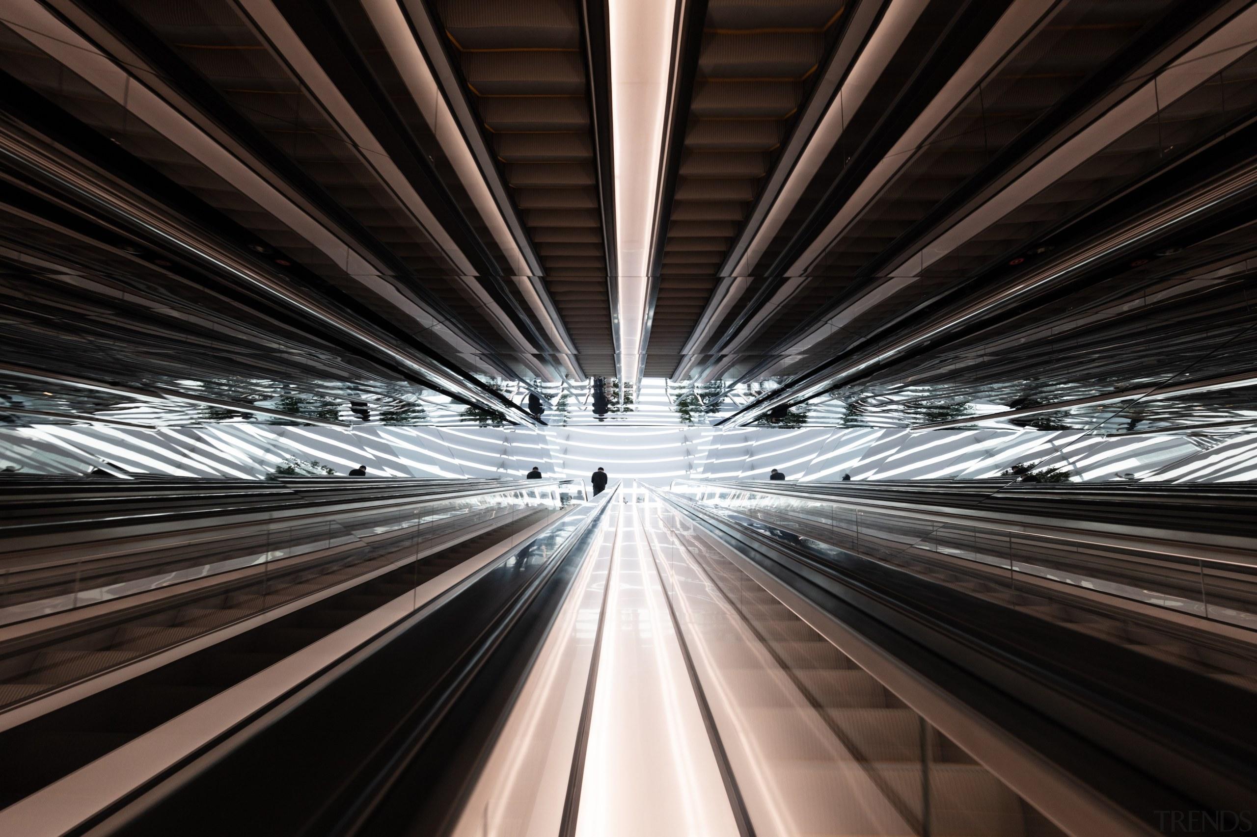 A set of dramatic escalators that take visitors