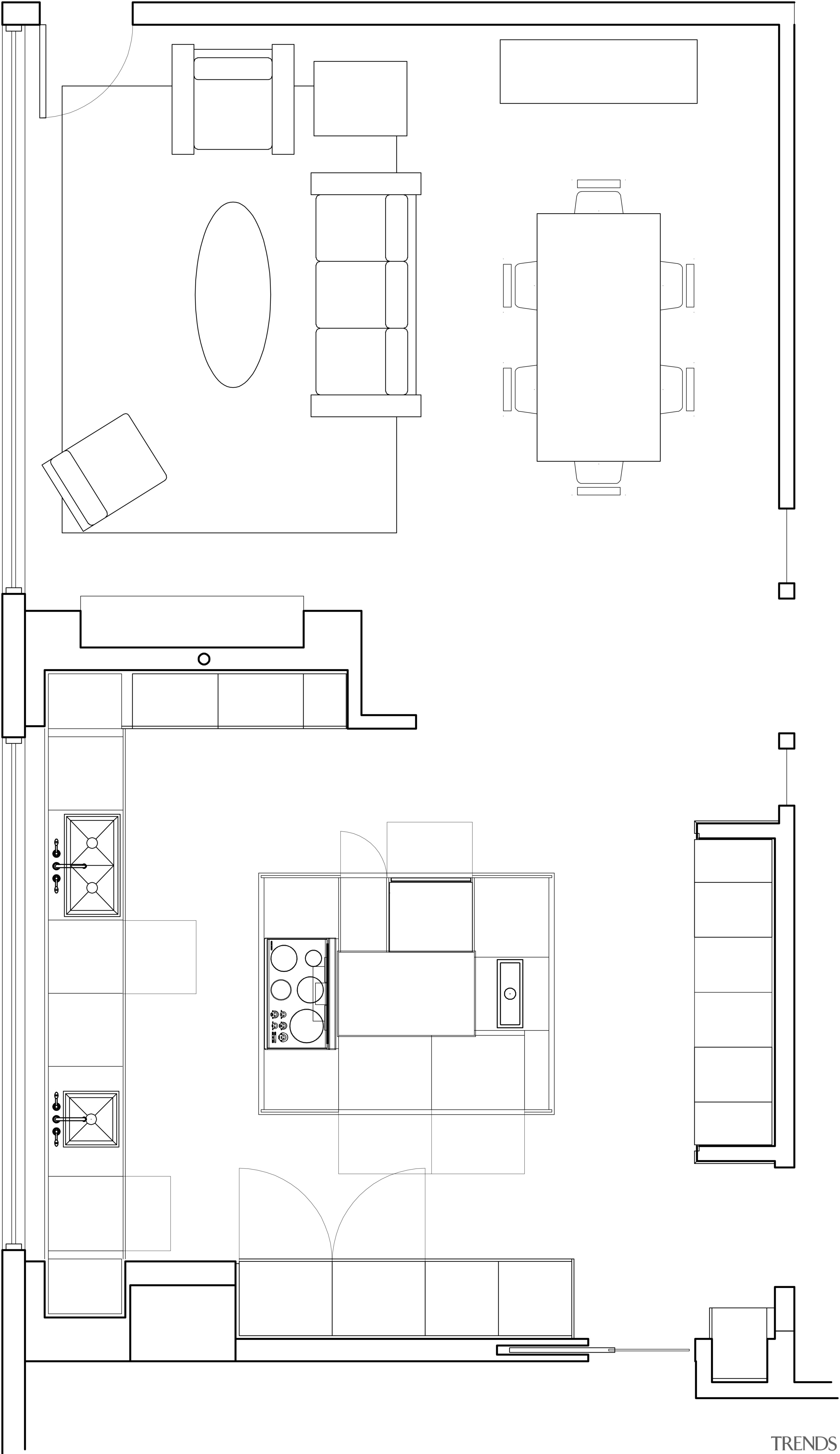 View fo kitchen remodelled with Zebrano Vaneer.  angle, architecture, area, black and white, design, diagram, drawing, floor plan, font, line, monochrome, plan, product, product design, square, structure, technical drawing, text, white, white