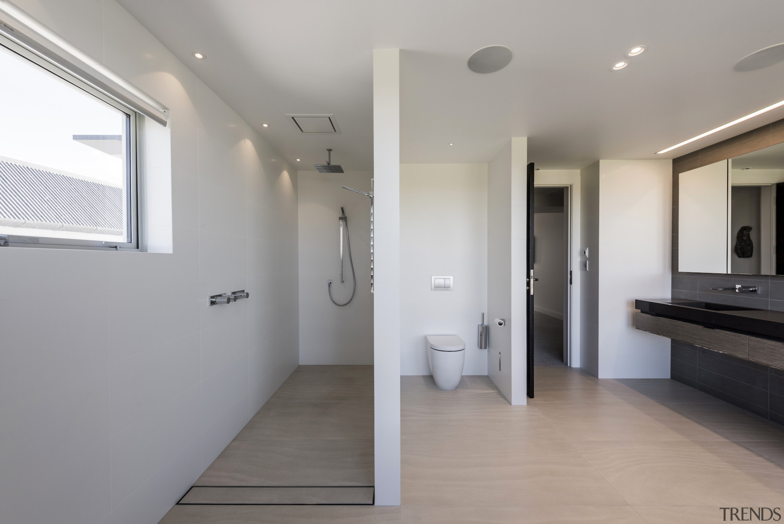 Layered areas of use in this ensuite echo architecture, bathroom, daylighting, floor, flooring, home, house, interior design, property, real estate, gray