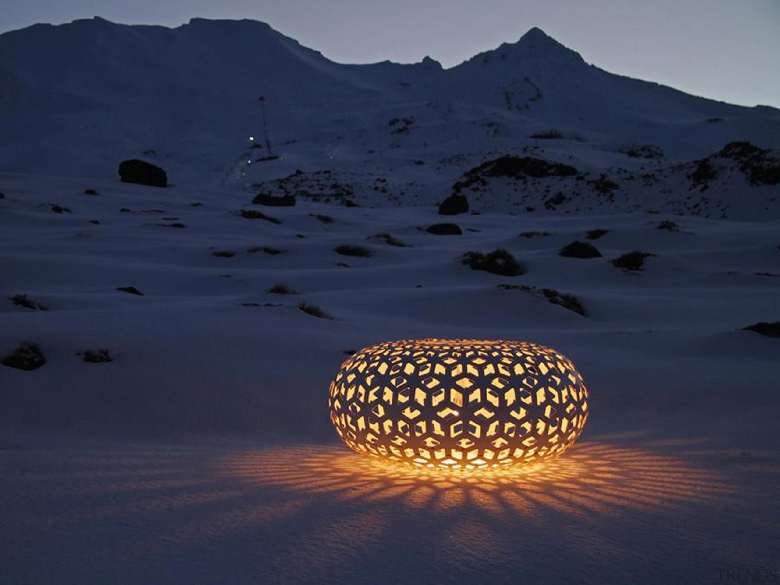 These arresting lights by designer David Trubridge make calm, sky, blue