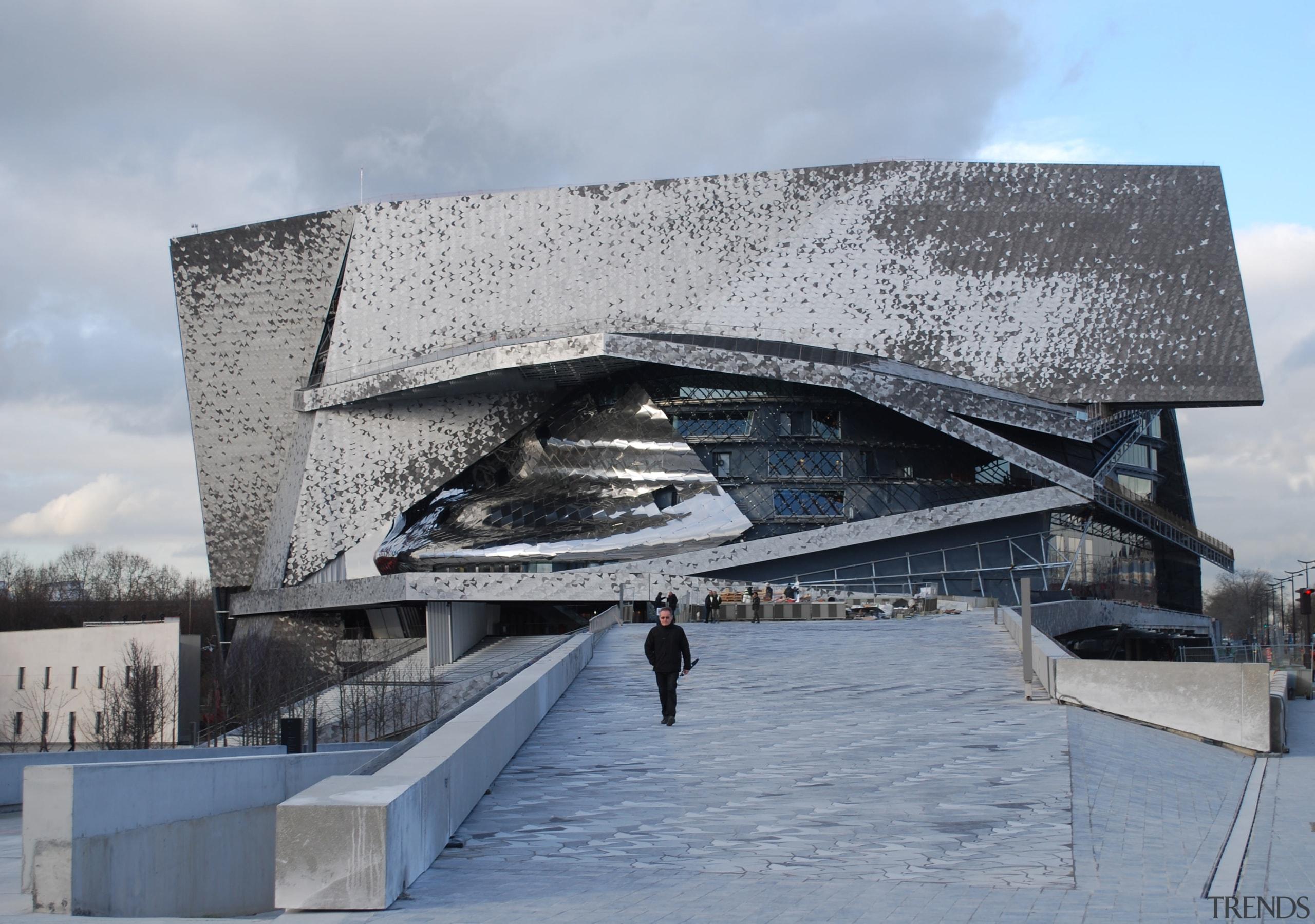 The design of the Philharmonie de Paris concert architecture, building, fixed link, sky, structure, water, gray