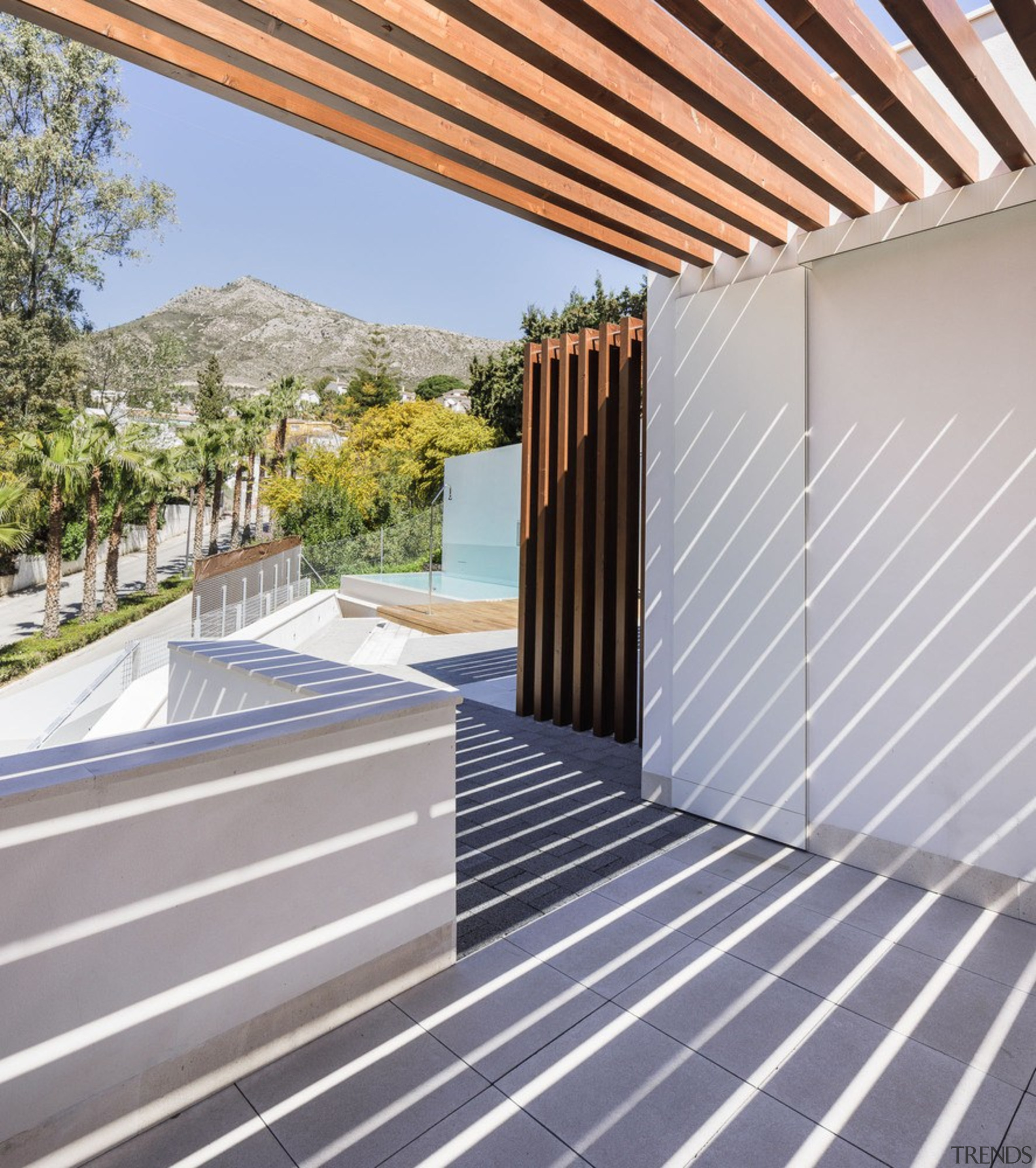 Looking out to the pool - architecture   architecture, daylighting, facade, house, outdoor structure, property, real estate, roof, window, gray