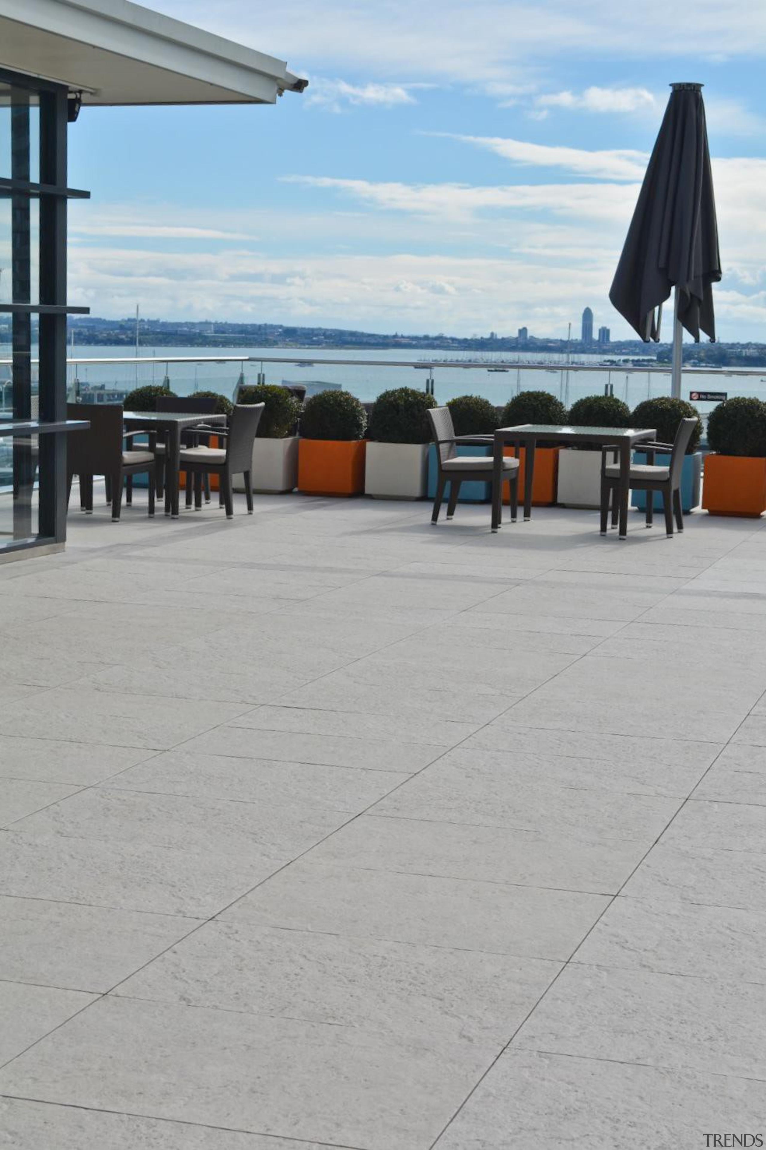 RAK Stone series outdoor tiles here in 600x900x20mm boardwalk, roof, sea, sky, vacation, walkway, water, gray