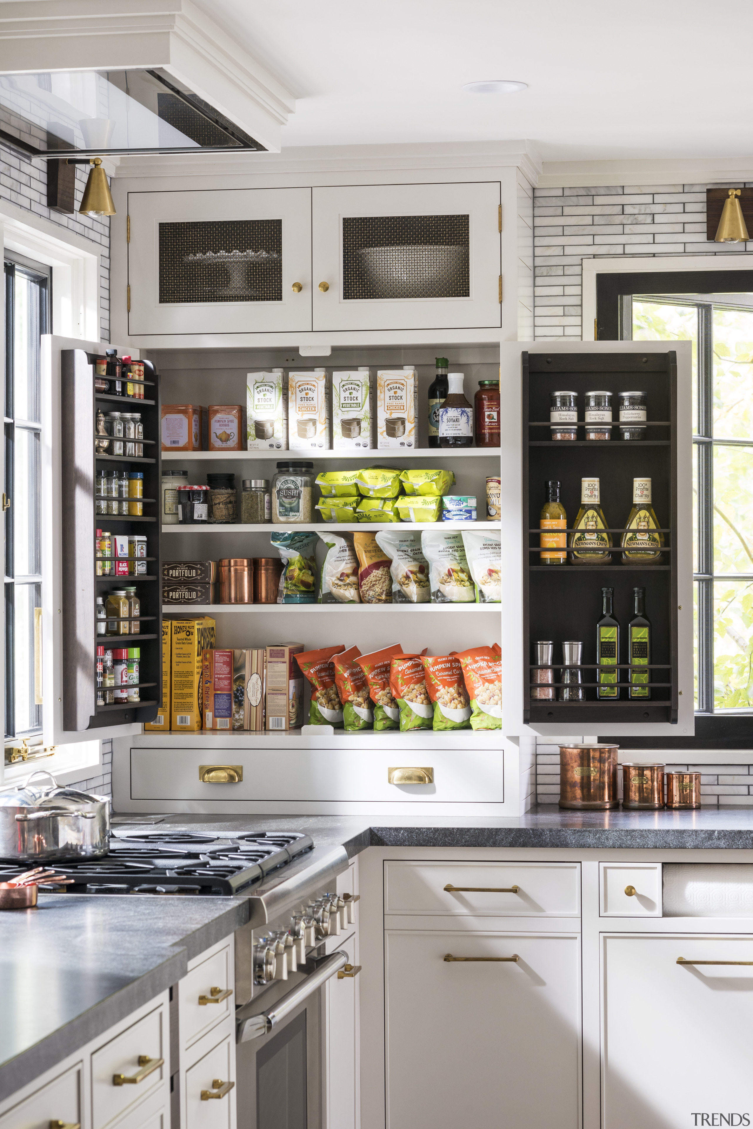 Benchtop-to-ceiling cabinetry extends into the corners of this cabinetry, storeage, countertop, floor, furniture, home, house, interior design, pantry, shelf, shelving, Studio Dearborn