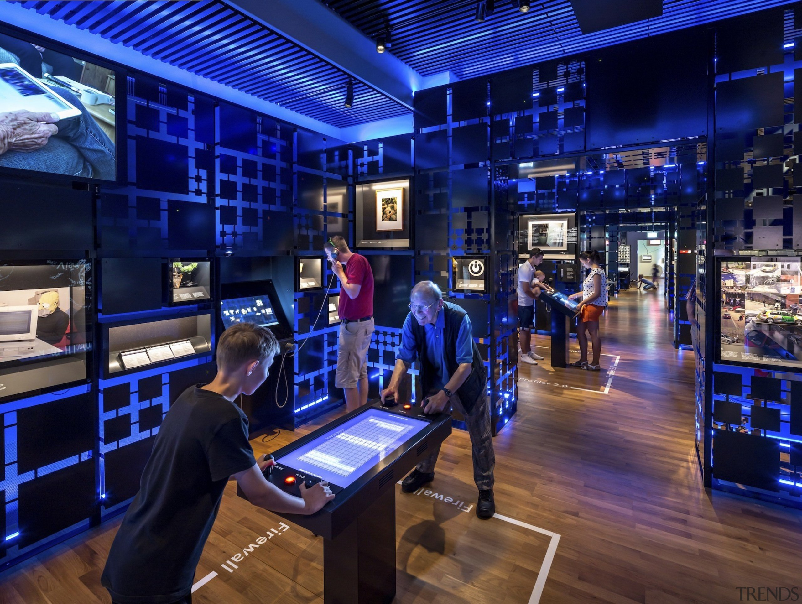 The new permanent exhibition at the Museum of broadcasting, technology, television studio, blue