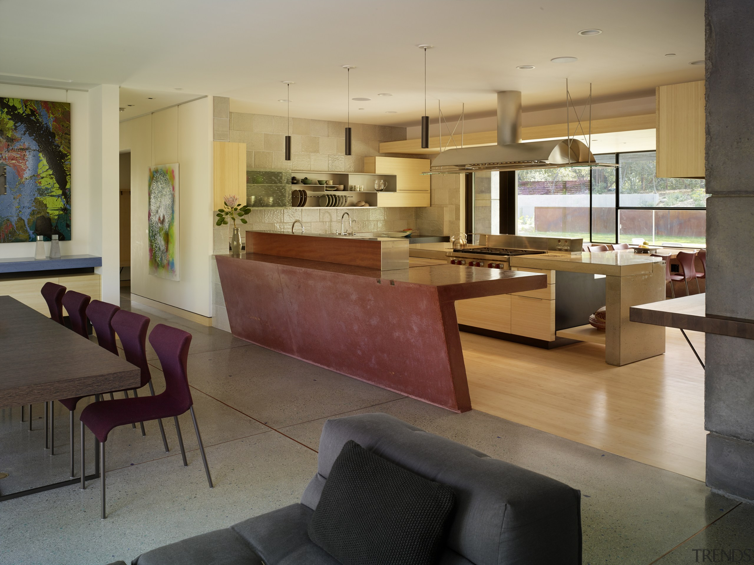 An angled, oxide red concrete island delineates this architecture, floor, tiles, concrete, furniture, house, interior design, living room, FuTung Cheng, Cheng Design