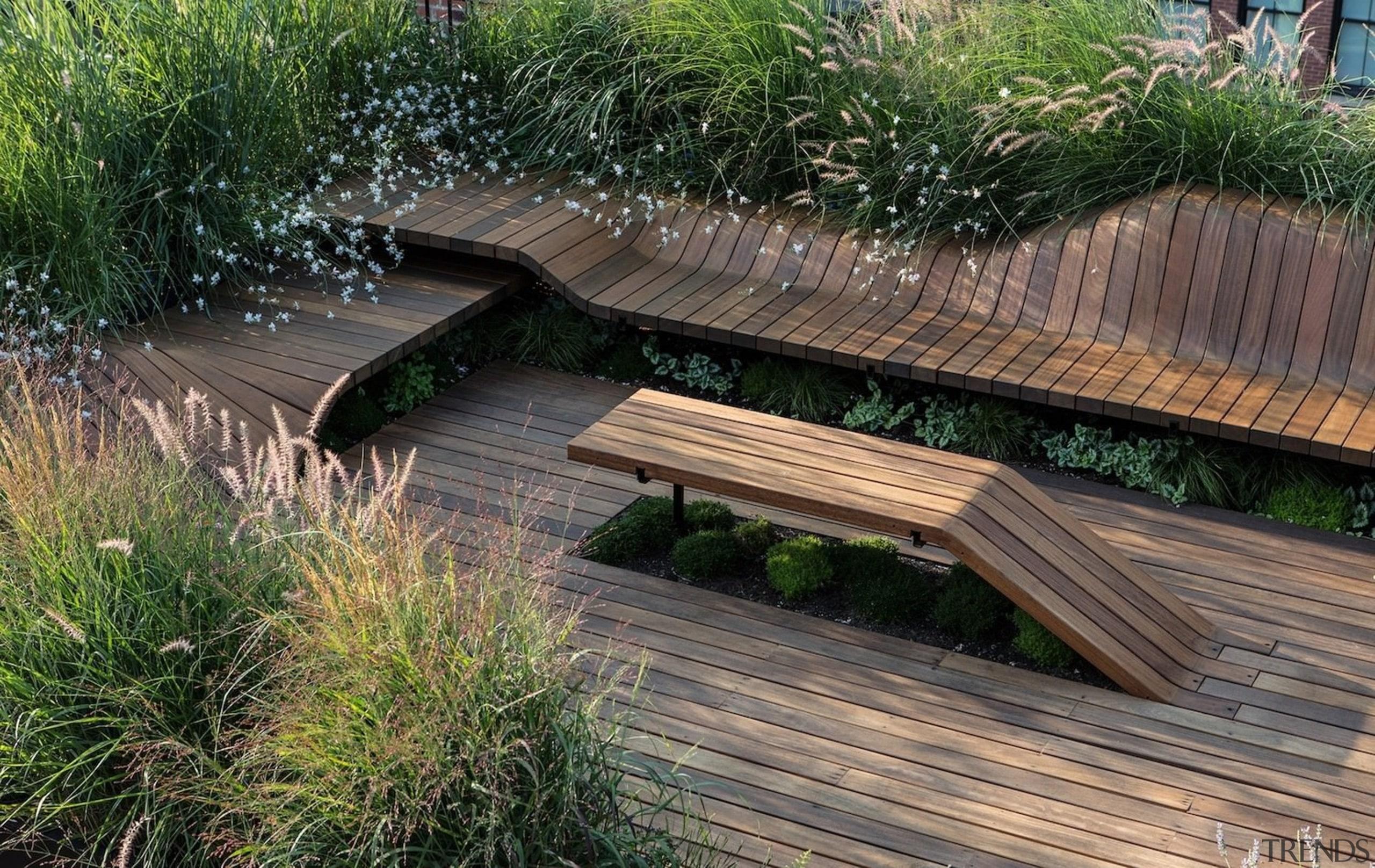 Architect: J.Roc Design bench, deck, grass, outdoor furniture, outdoor structure, path, walkway, wood, gray