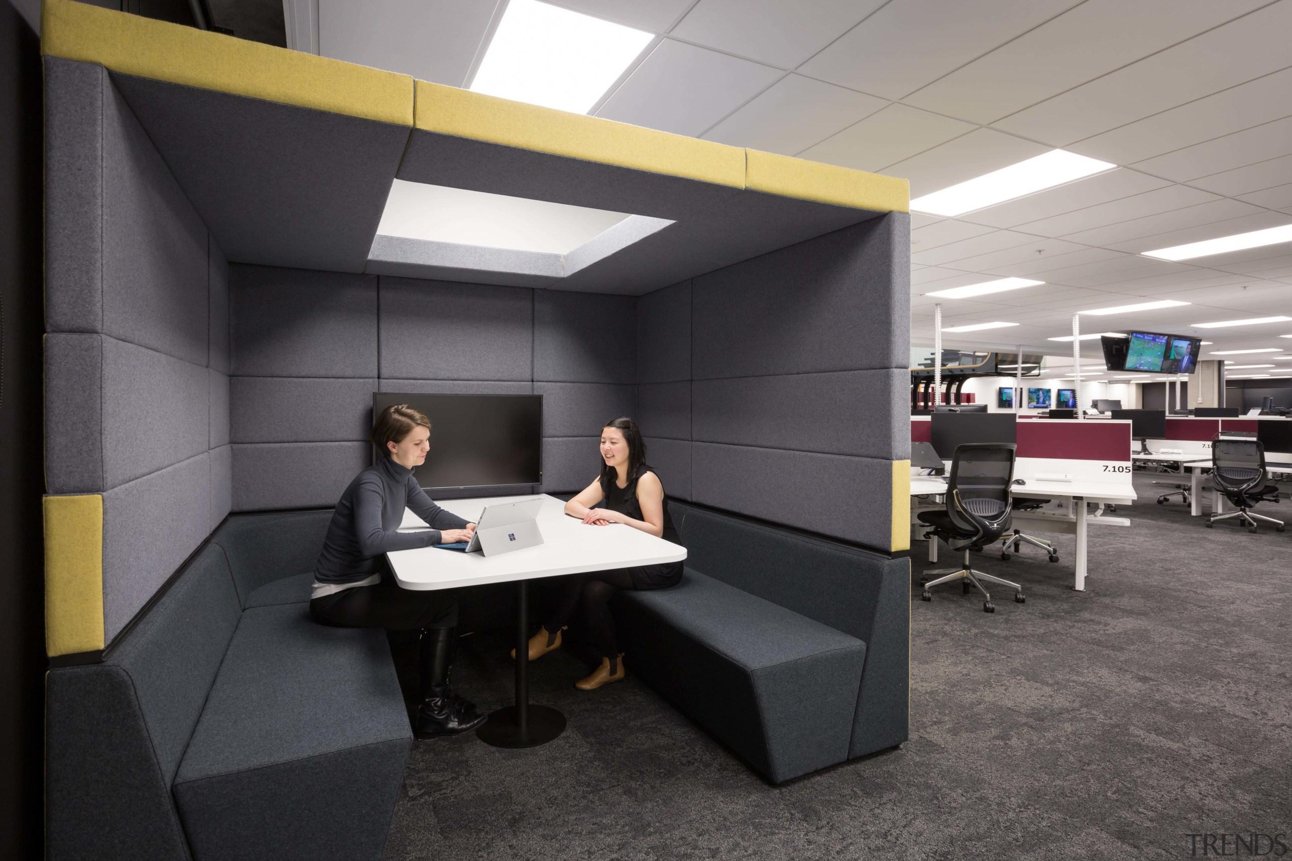 A collaborative space in the medium noise level desk, furniture, interior design, office, product design, black, gray