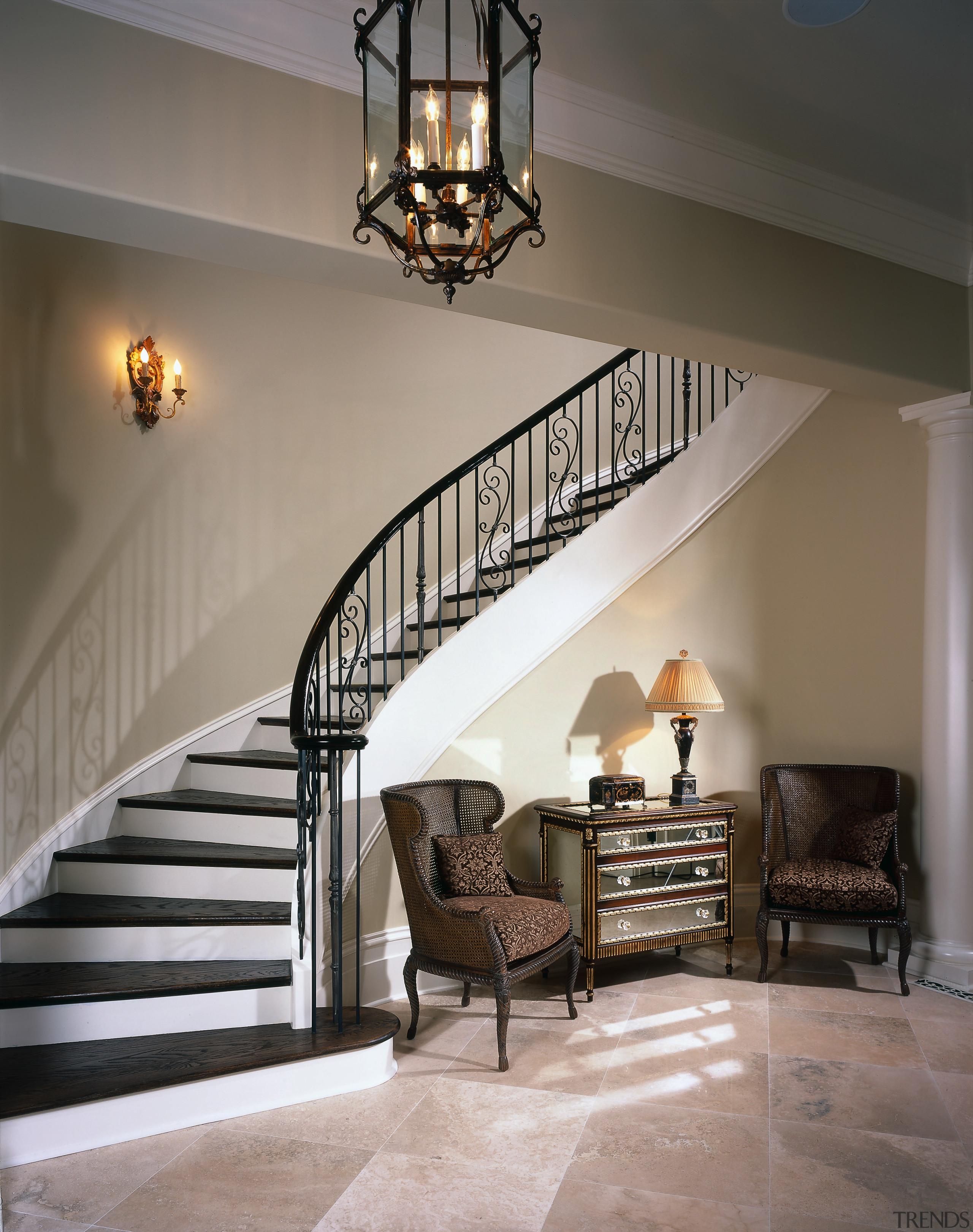 View of the stairway - View of the ceiling, estate, floor, flooring, handrail, hardwood, home, interior design, light fixture, lighting, stairs, wall, wood, wood flooring, gray