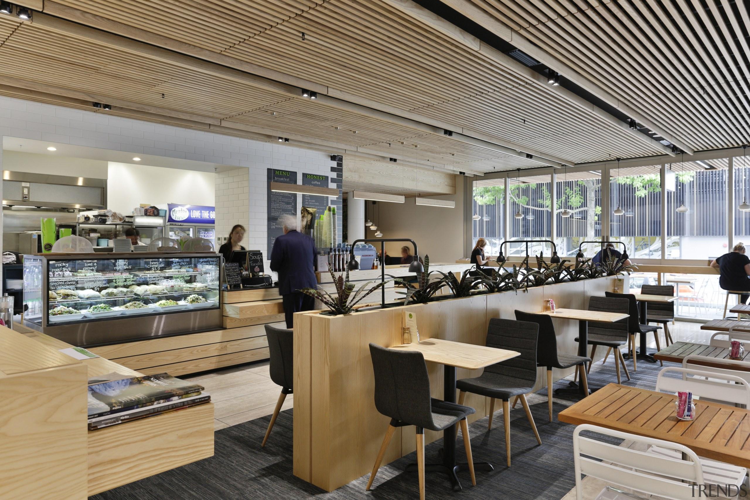 A café enlivens the lift and circulation lobby cafeteria, interior design, restaurant, gray