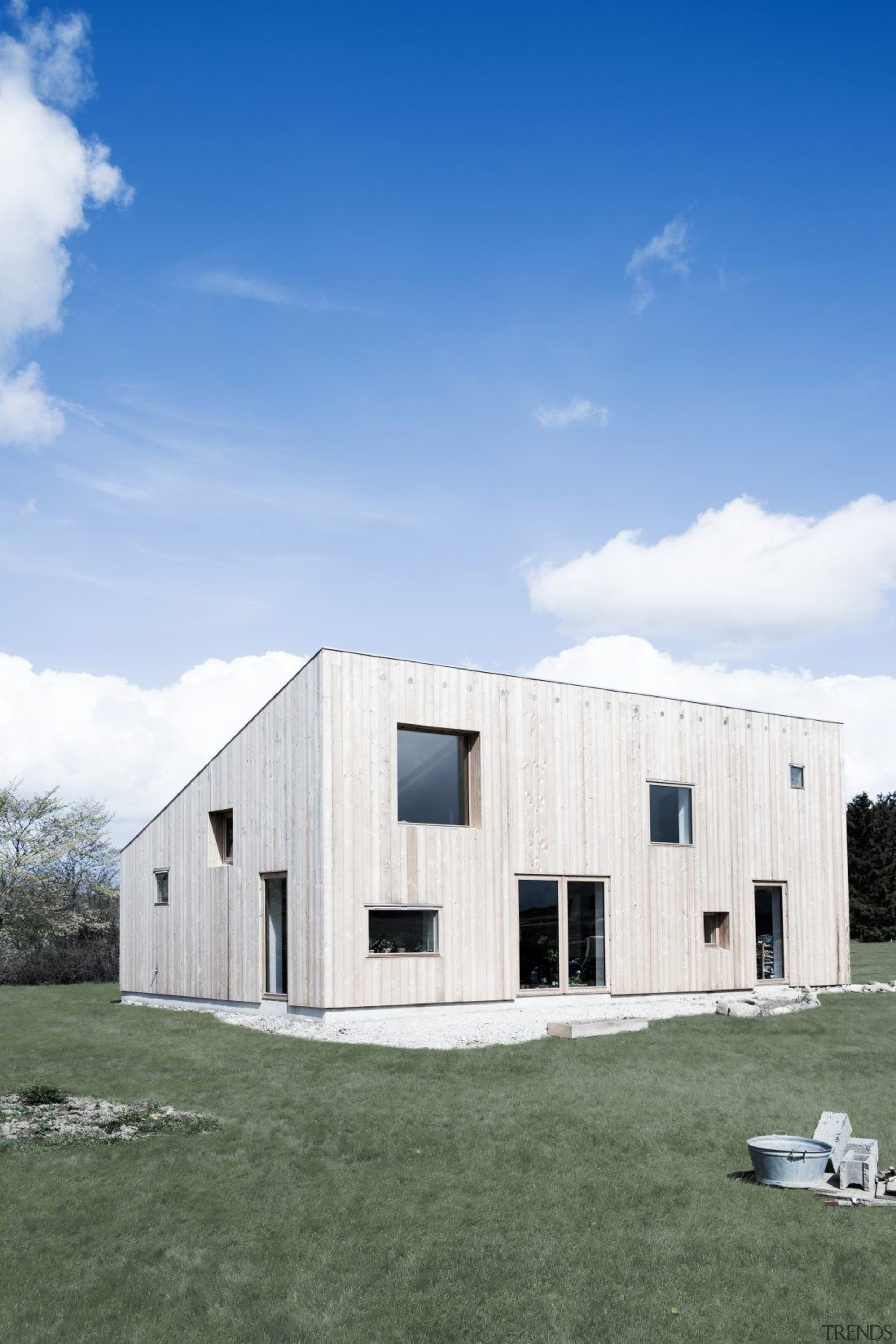 Architect: Sigured Larsen architecture, barn, facade, home, house, real estate, sky, white, teal