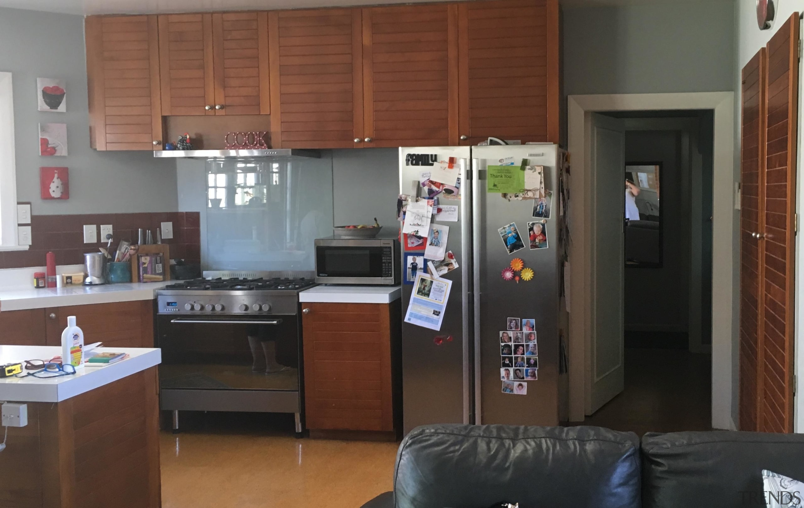 Before – an outdated extension had previously incorporated countertop, home appliance, kitchen, room, brown, gray, black