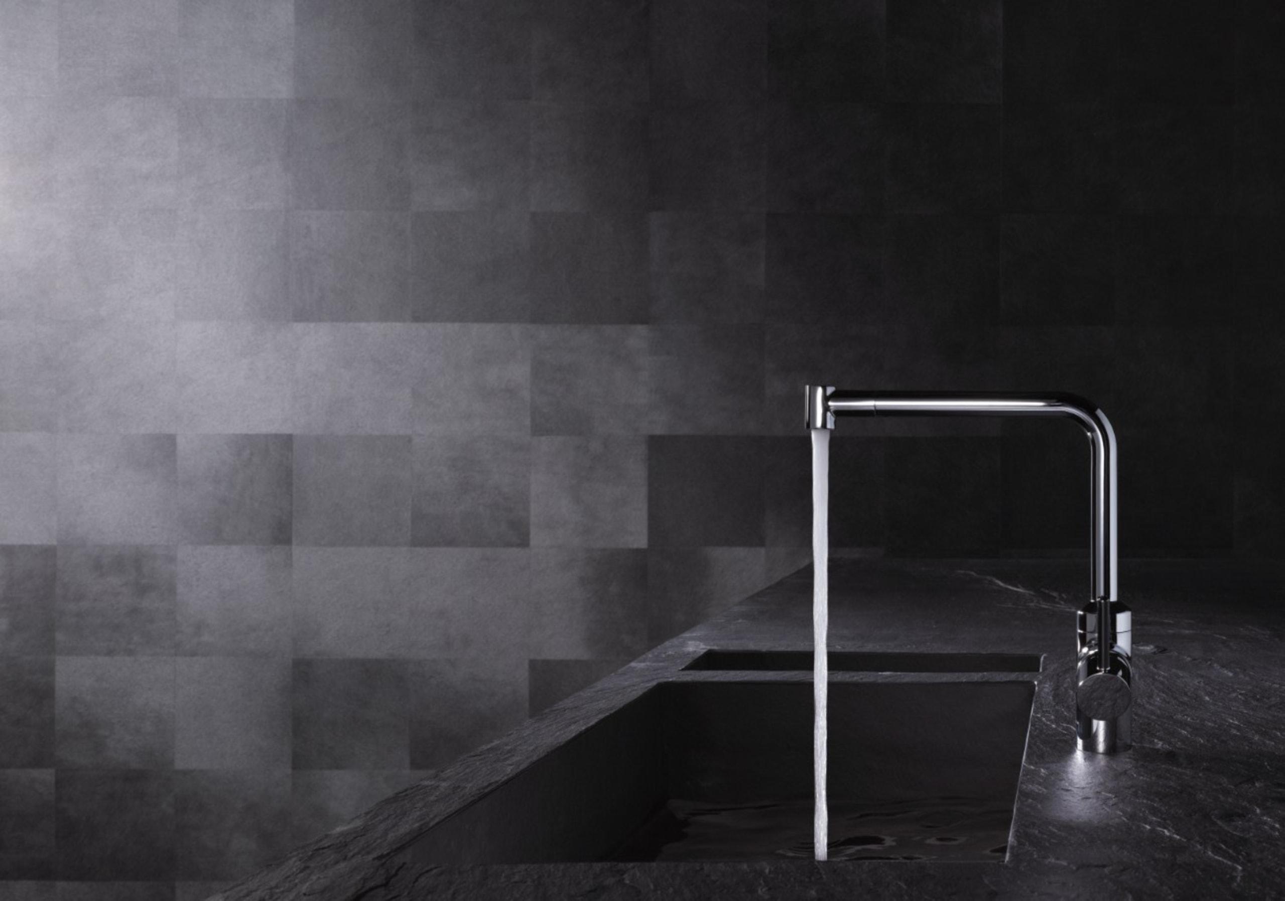 KLUDI L-INE 04 - KLUDI L-INE 04 - angle, architecture, black, black and white, floor, flooring, light, lighting, monochrome, monochrome photography, phenomenon, still life photography, tap, wall, black, gray