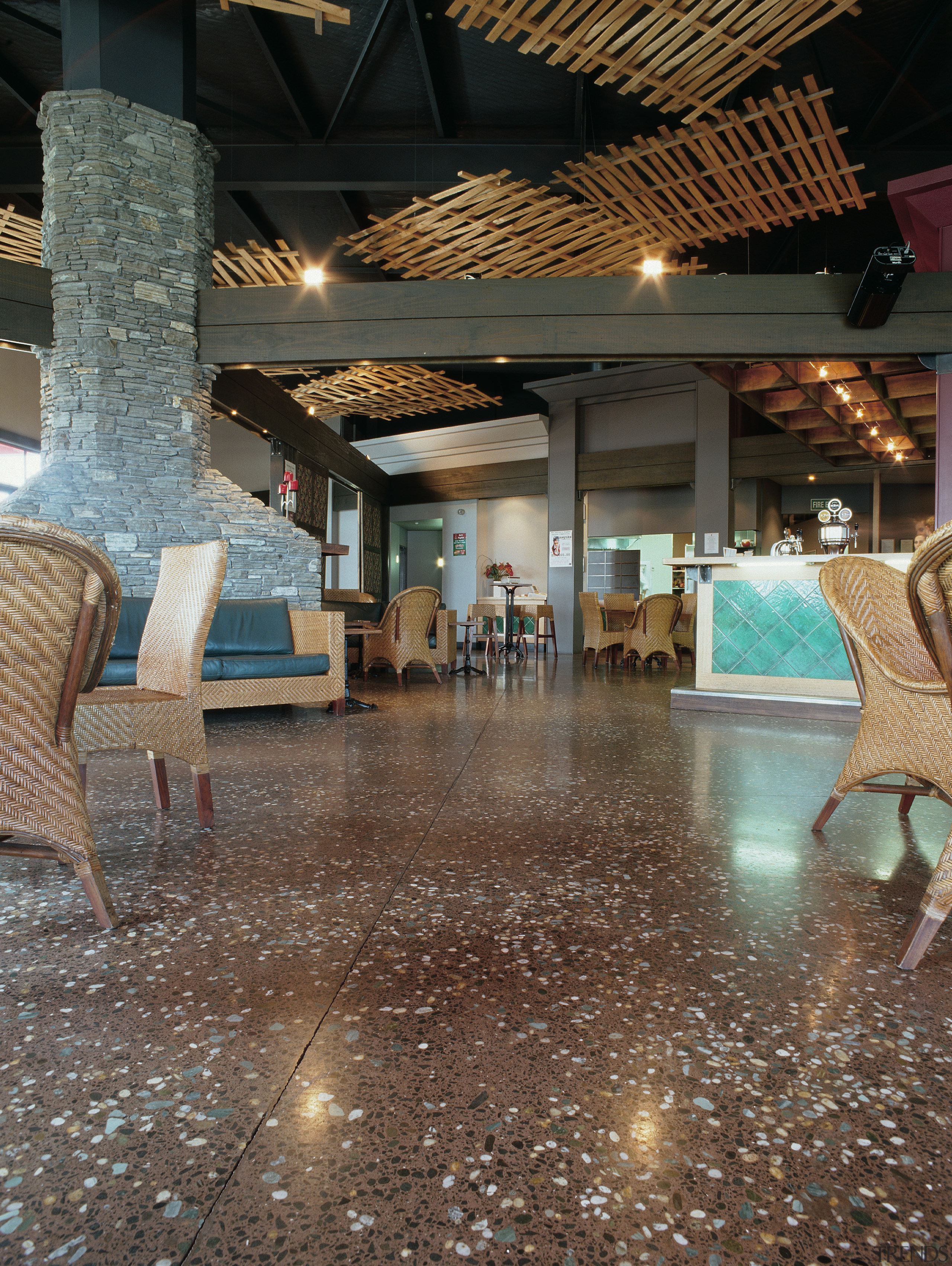 View of the hospitality area - View of ceiling, floor, flooring, interior design, lobby, brown, black, gray