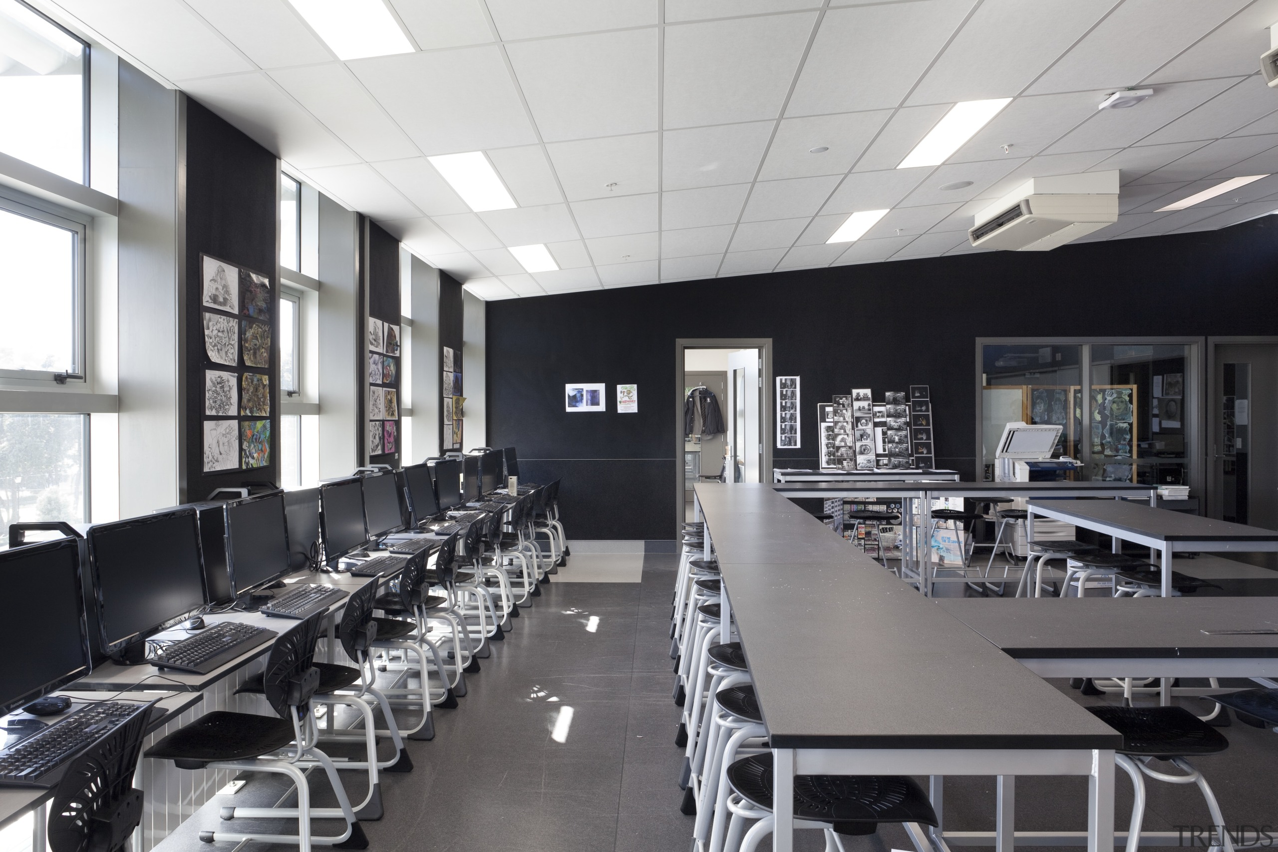 View of classroom with black furniture and walls. conference hall, interior design, office, gray, black, white