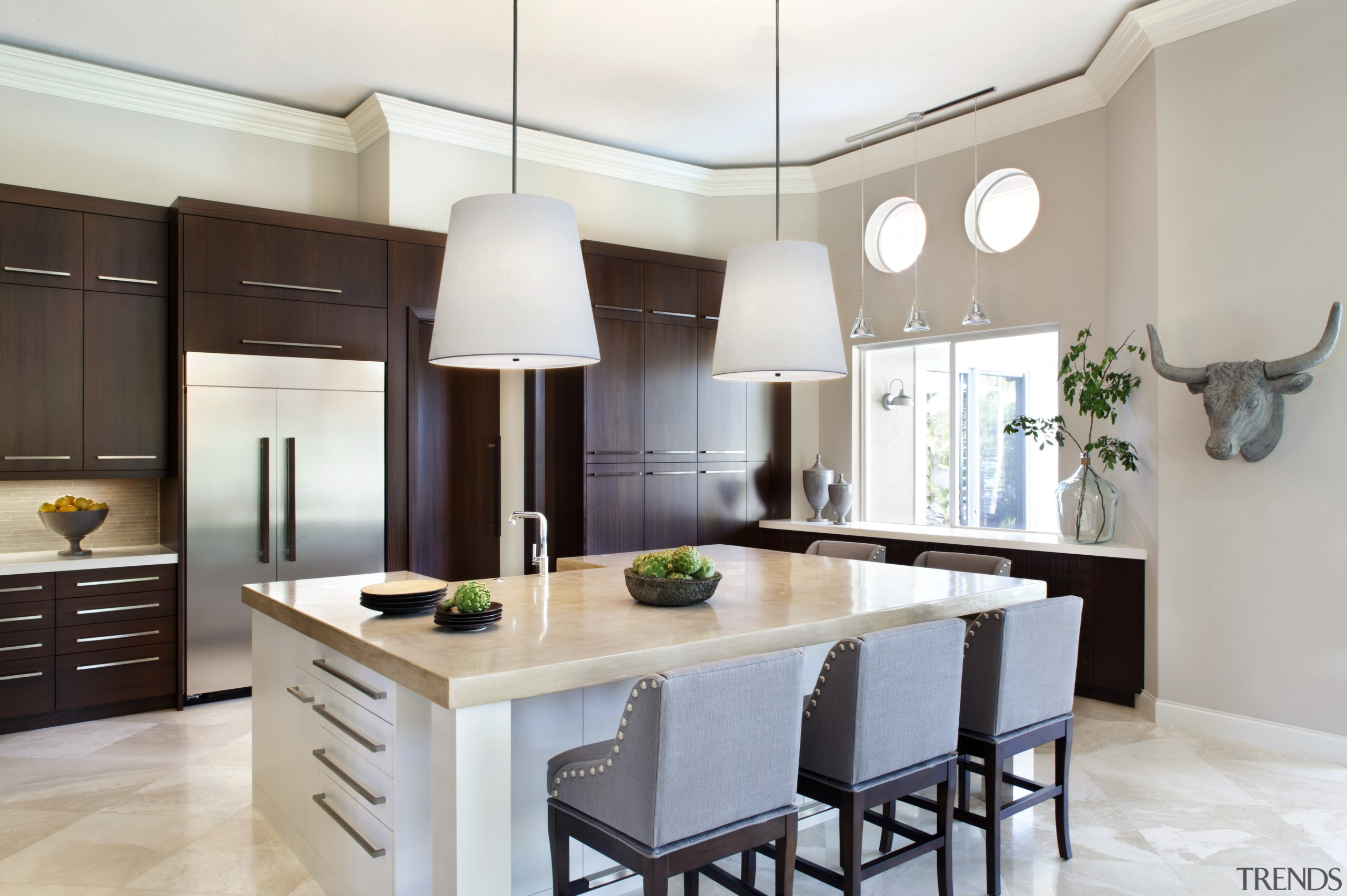Sleek, streamlined and uncluttered  this remodelled kitchen cabinetry, countertop, cuisine classique, interior design, kitchen, real estate, room, gray