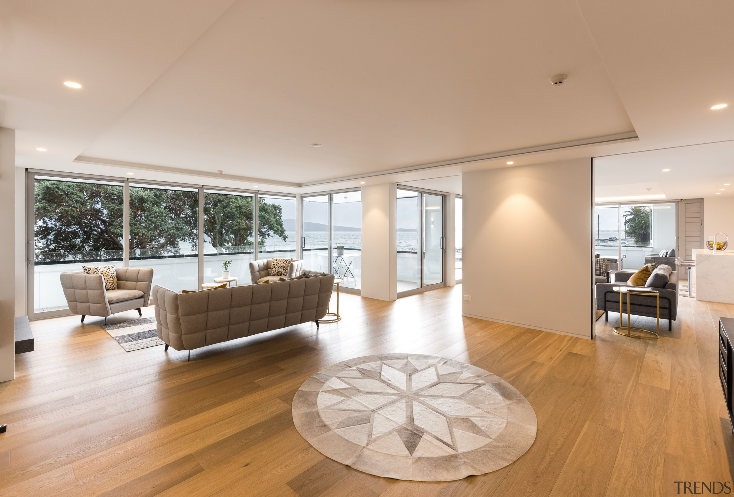 Warm welcome  the look of pale wood apartment, architecture, ceiling, estate, floor, flooring, hardwood, home, house, interior design, laminate flooring, living room, penthouse apartment, property, real estate, window, wood, wood flooring, orange, gray