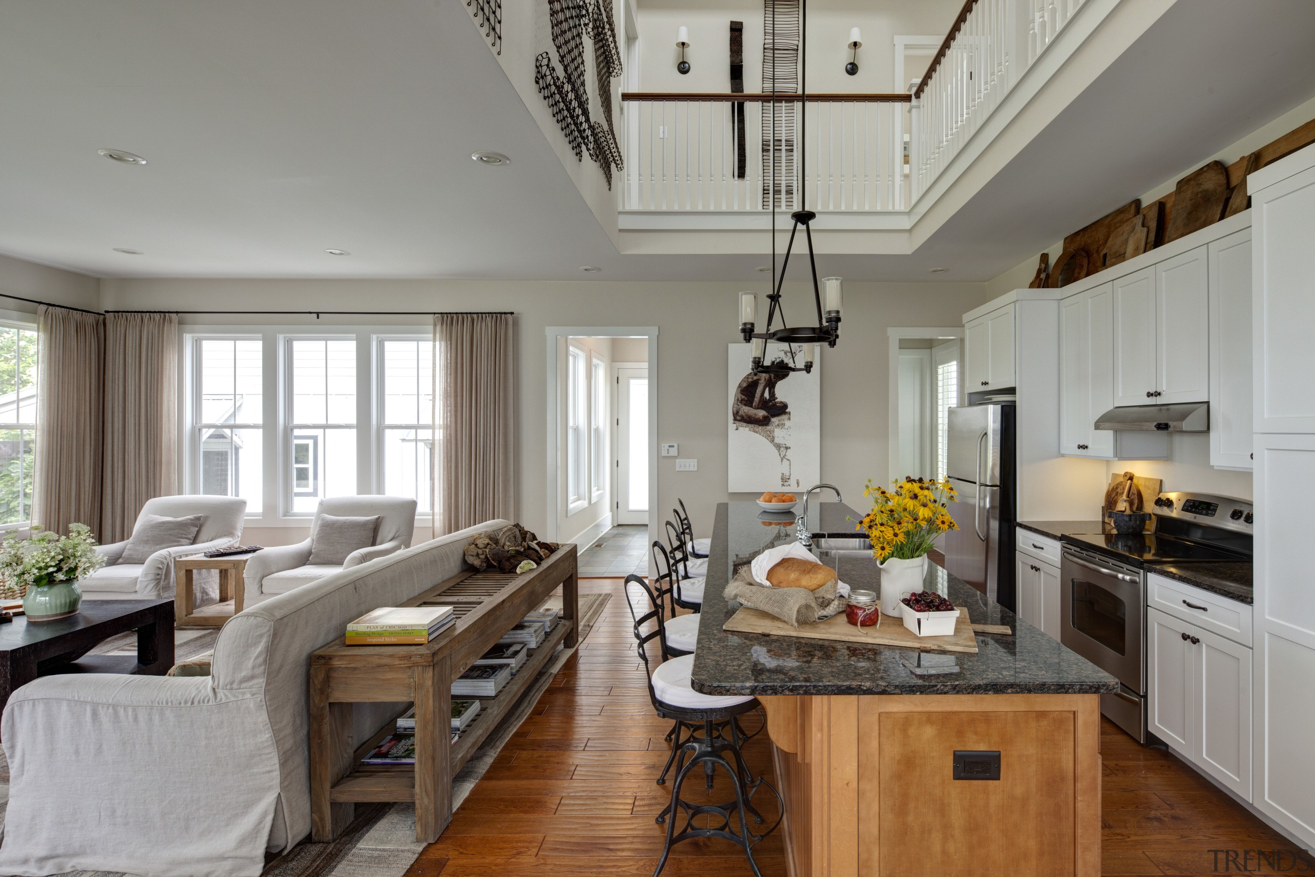 Kitchen in Amish style new home - Kitchen ceiling, countertop, interior design, kitchen, living room, room, gray