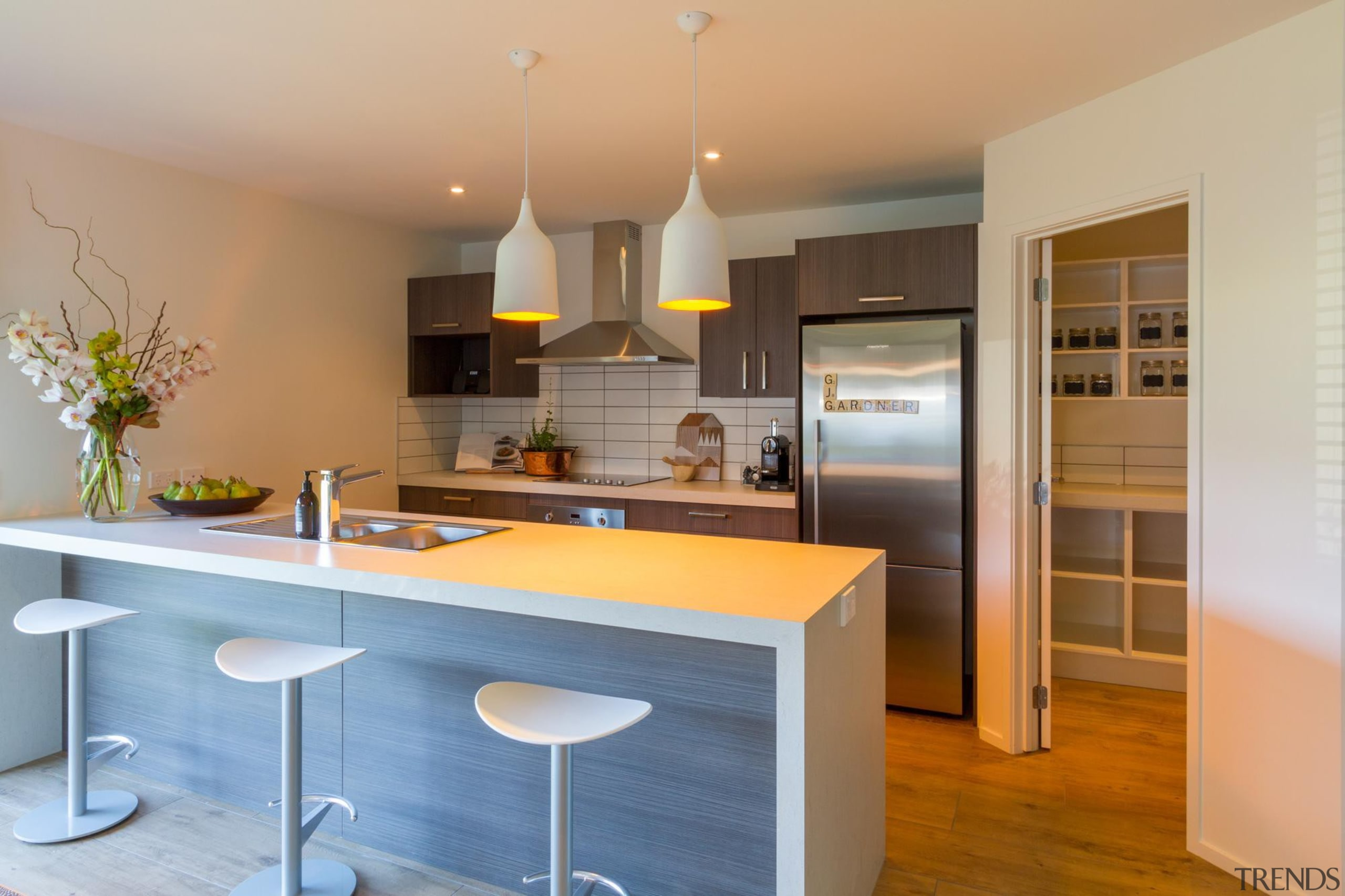 Practical family kitchen with large pantry and effortless cabinetry, countertop, cuisine classique, interior design, kitchen, real estate, room, gray, orange, brown