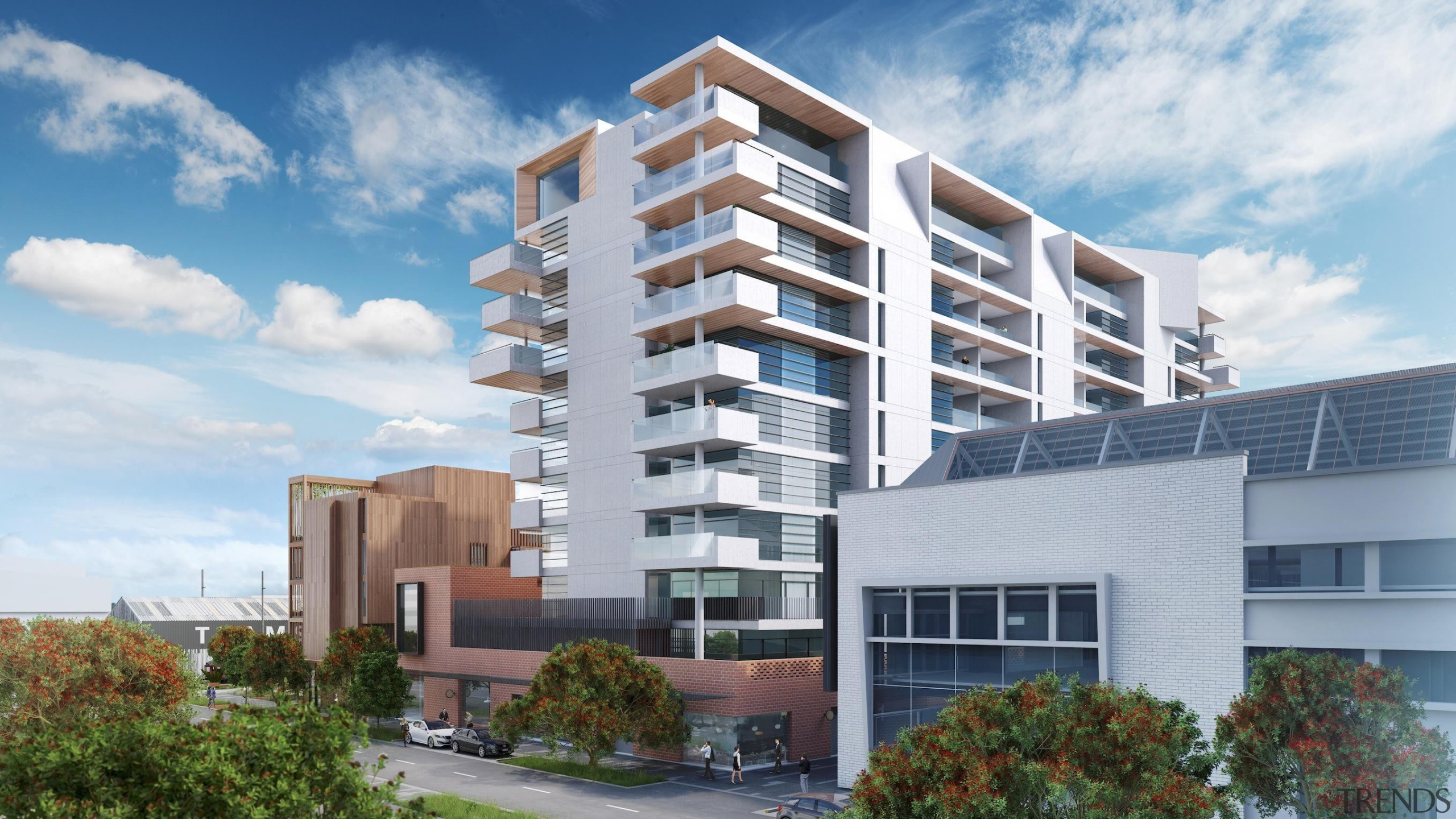The first stage of Wynyard Central is an apartment, building, commercial building, condominium, corporate headquarters, elevation, estate, facade, home, house, metropolitan area, mixed use, neighbourhood, property, real estate, residential area, tower block, gray