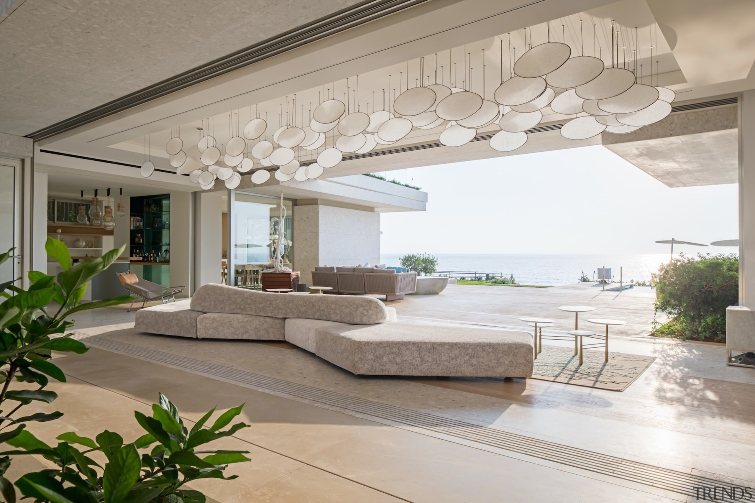 This lounge faces directly out to sea - ceiling, estate, floor, home, interior design, living room, property, real estate, gray