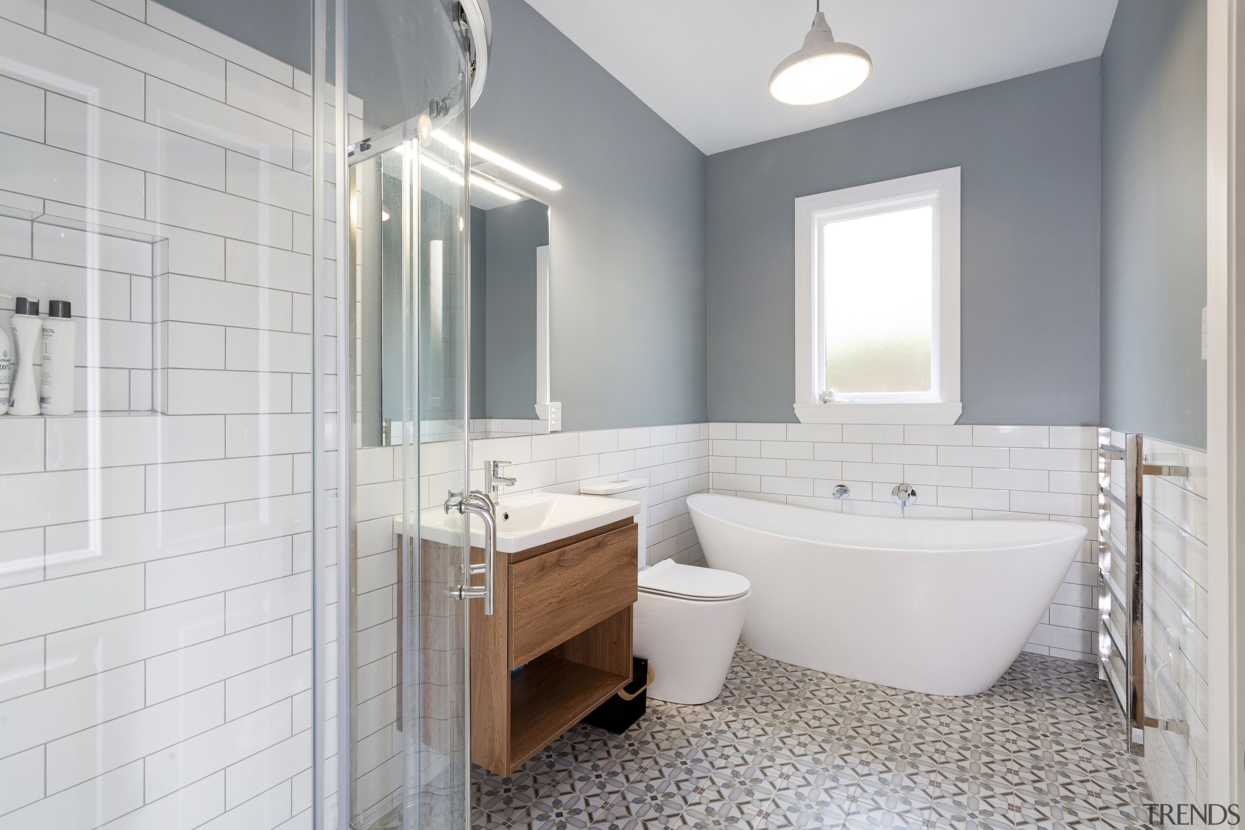 Hunter Anderson Architecture – Highly Commended – 2019 architecture, bathroom, bathroom accessory, bathroom cabinet, building, ceiling, floor, furniture, home, house, interior design, plumbing fixture, property, real estate, room, tile, gray