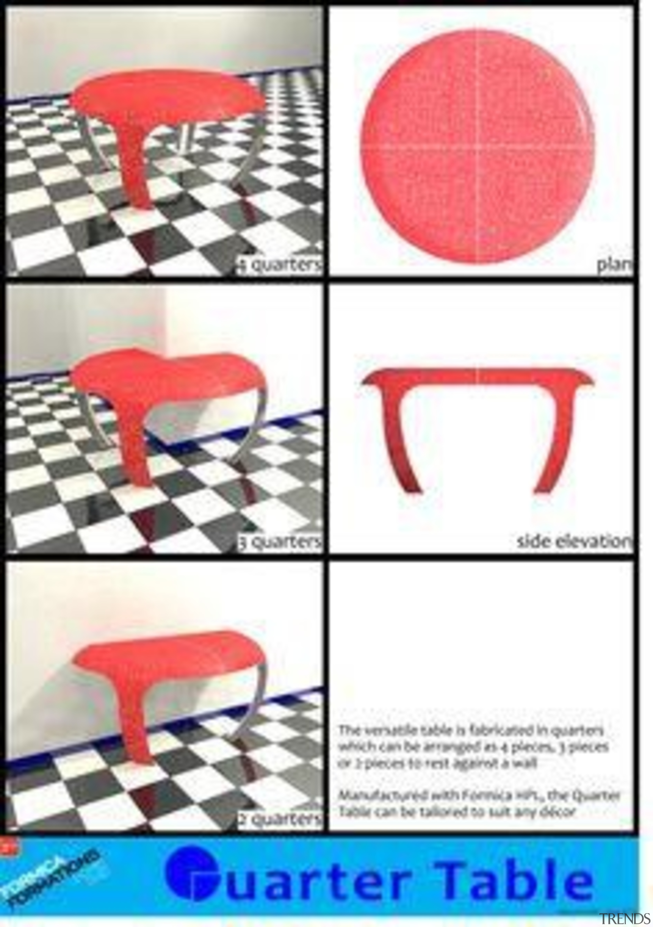 by Malcolm Duff - Quarter Table - chair chair, design, font, furniture, line, pattern, product, product design, red, table, text, white